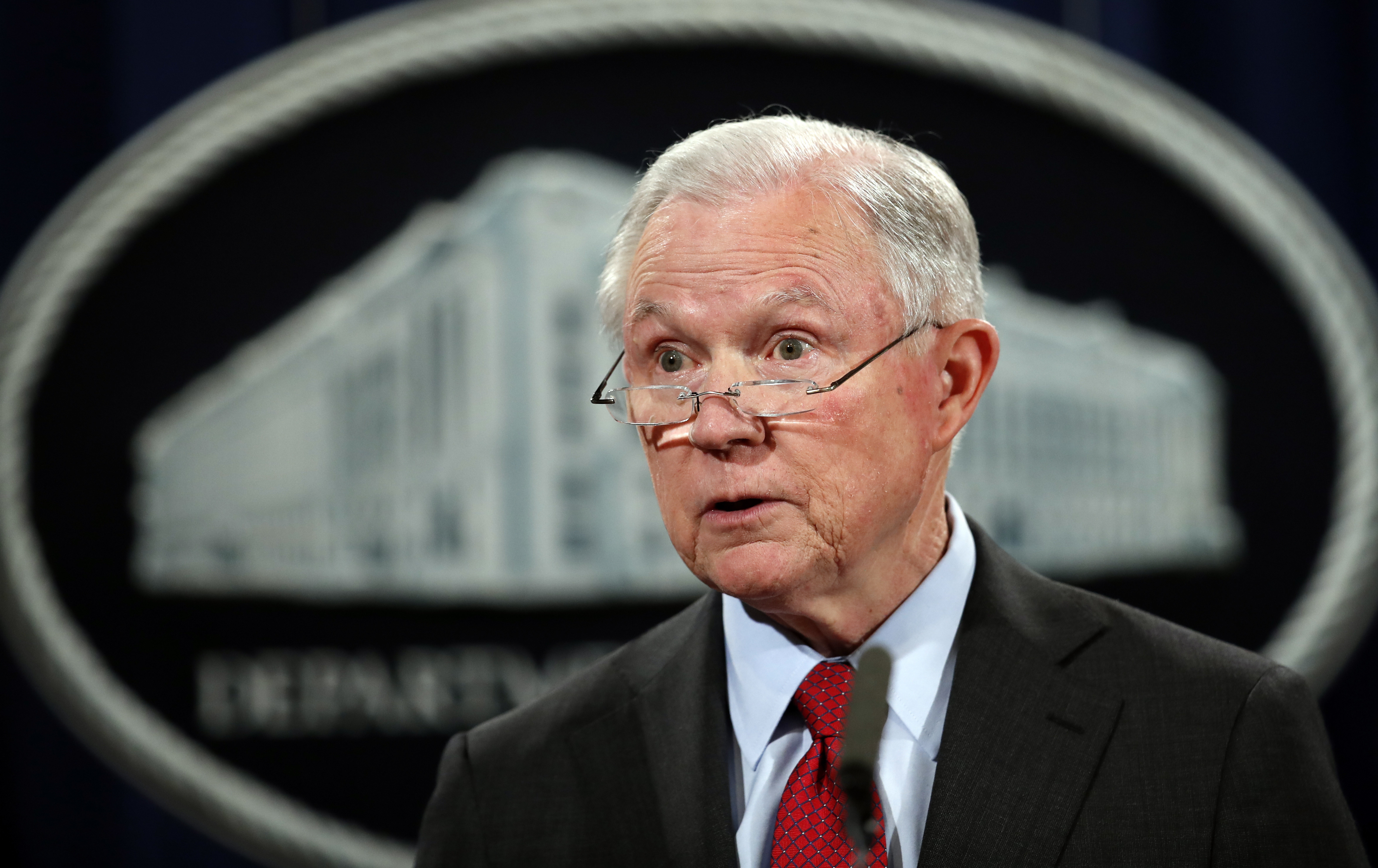 United States Attorney General Jeff Sessions speaks during a news conference at the Justice Department in Washington.