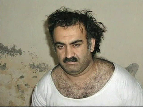 A photo of alleged Sep 11, 2001 mastermind Khalid Sheikh Mohammed soon after he was arrested (file photo)