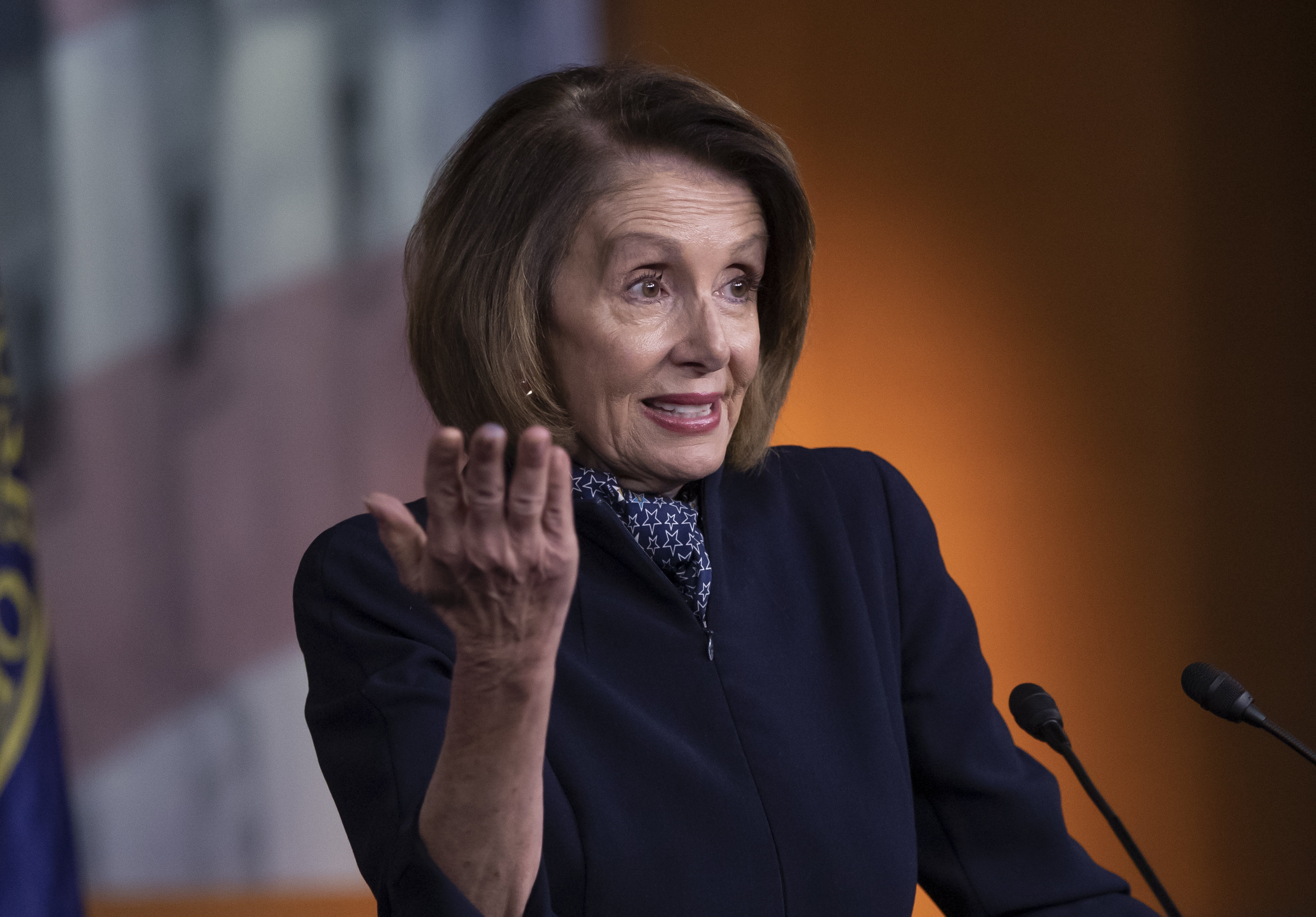 House Democratic leader Nancy Pelosi of California holds a news conference at the Capitol in Washington, Dec. 13, 2018.