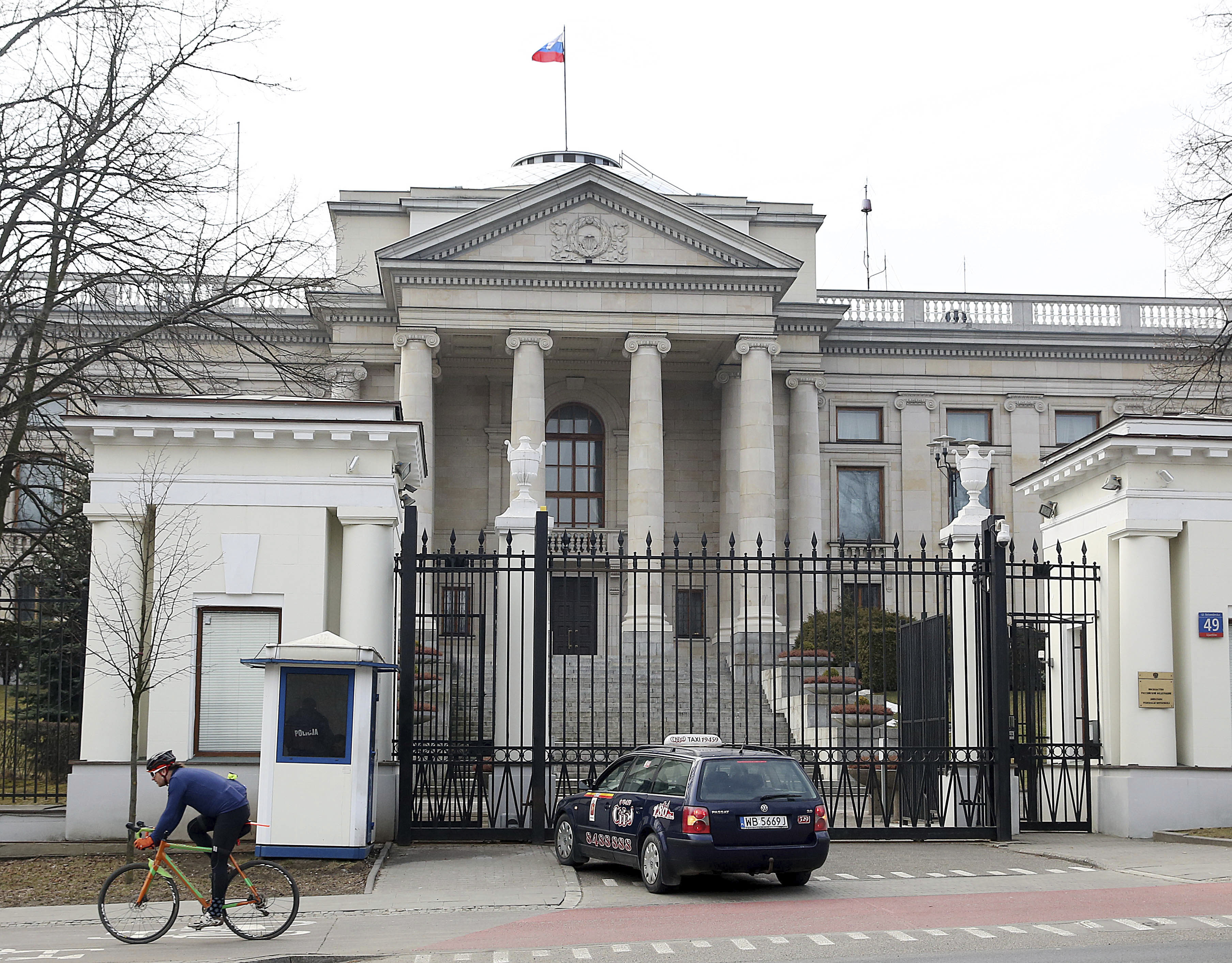 """A taxi in front of the Russian Embassy in Warsaw, Poland, Monday, March 26, 2018.Russia's Ambassador to Poland Sergei Andreev was summoned Monday to Poland's Foreign Ministry and said he will stay in Warsaw in the coming weeks, but """"we will see"""" abou..."""