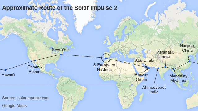 Map showing approximate route of the Solar Impulse 2