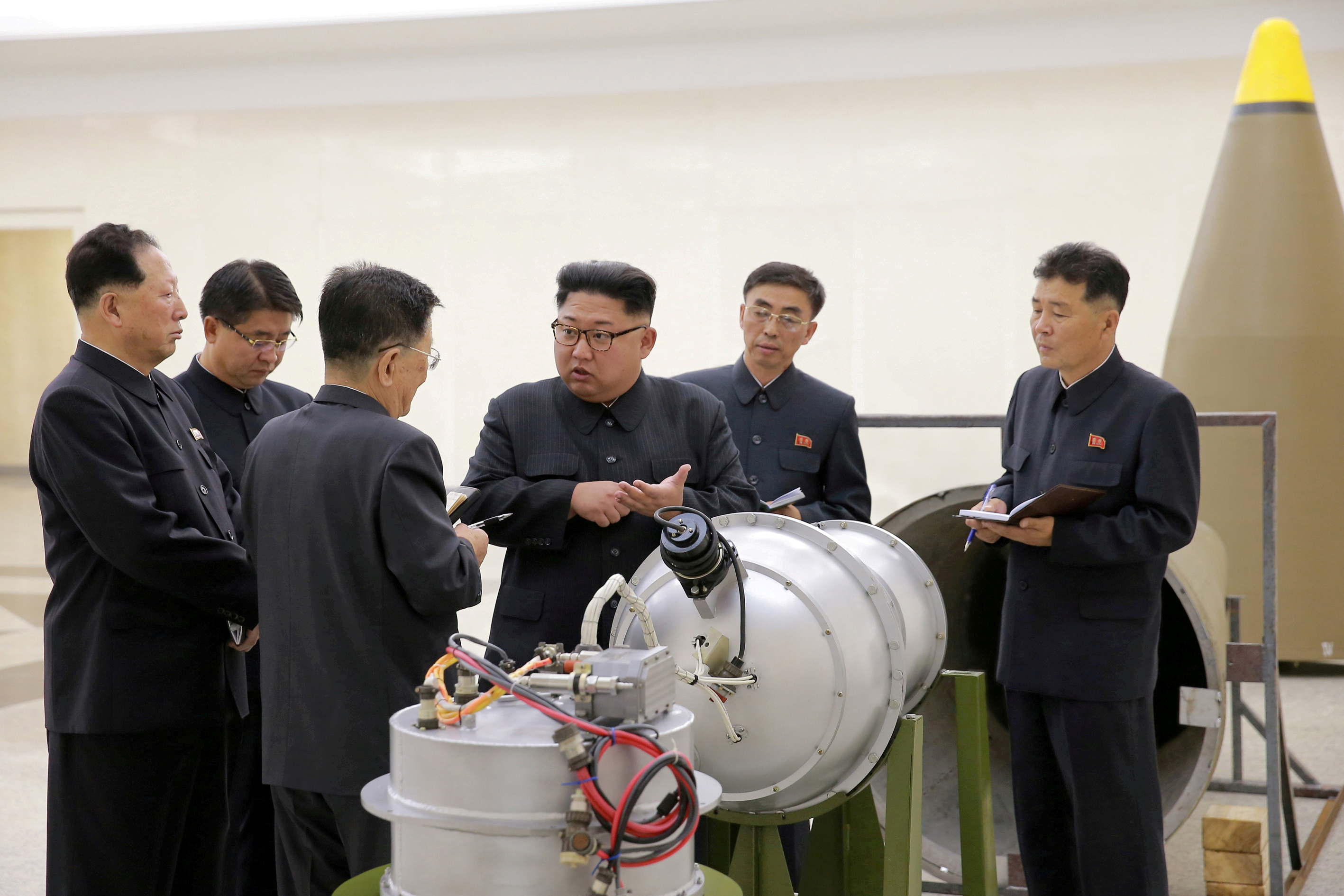 FILE - North Korean leader Kim Jong Un provides guidance on a nuclear weapons program in this undated photo released by North Korea's Korean Central News Agency (KCNA) in Pyongyang, Sept. 3, 2017.