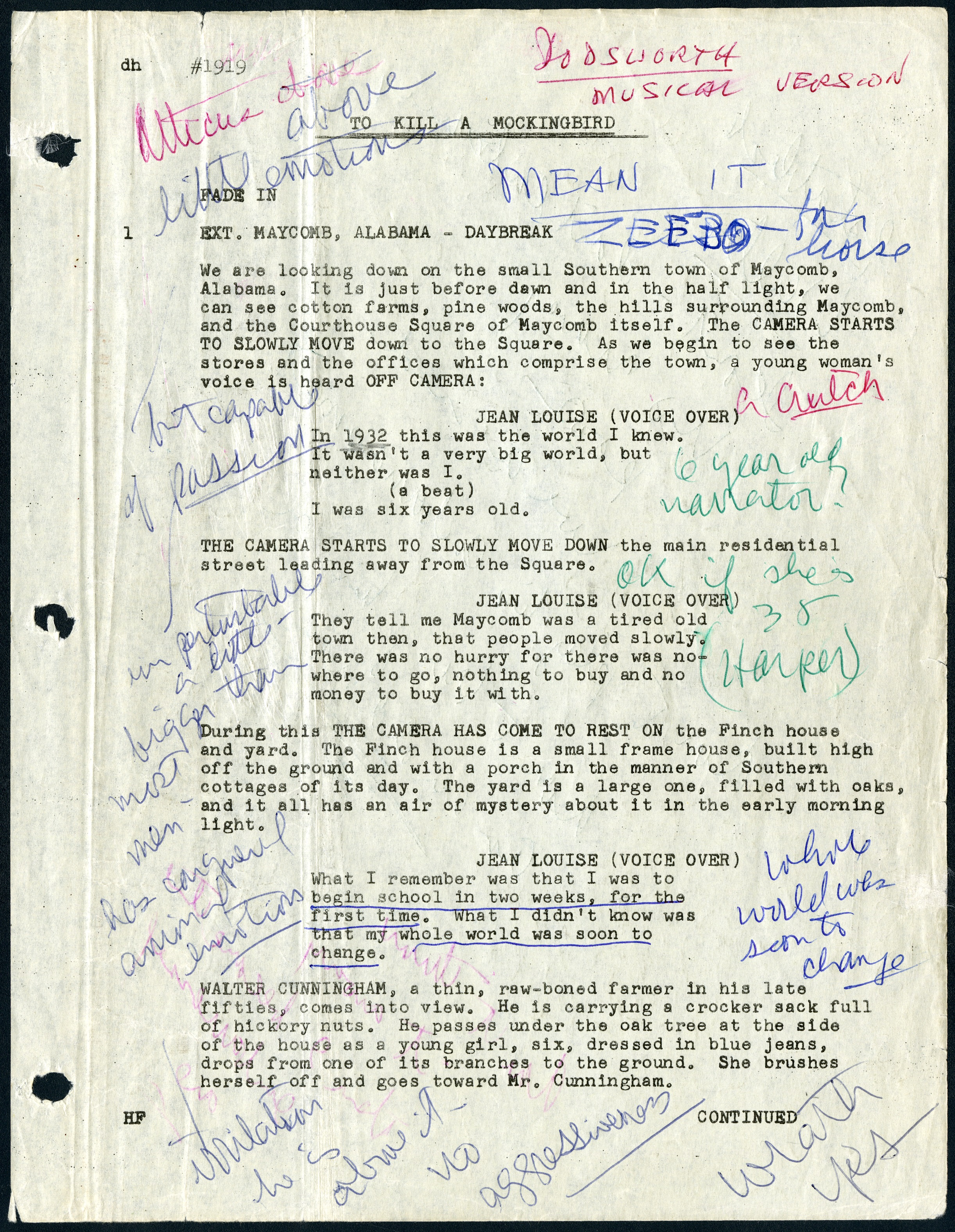"""A page from the script for """"To Kill a Mockingbird"""" (1962) annotated by Gregory Peck from the Gregory Peck Papers, courtesy of the Margaret Herrick Library.  The museum will look at the past, present and future of the movie industry."""