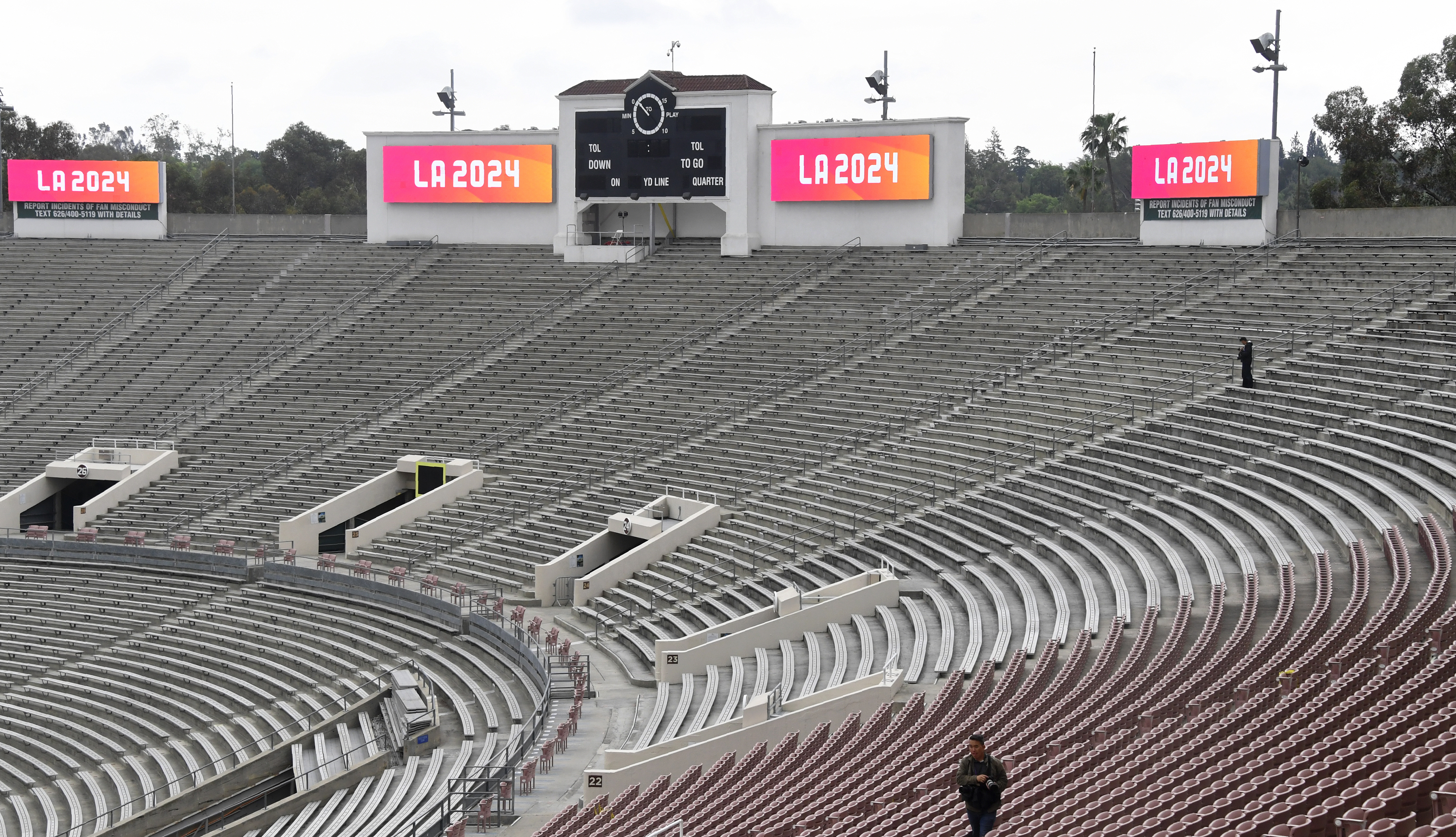 FILE - The Rose Bowl is seen as part of a tour of Olympic venues as officials attend the IOC Evaluation Commission session in Los Angeles, California, May 10, 2017.