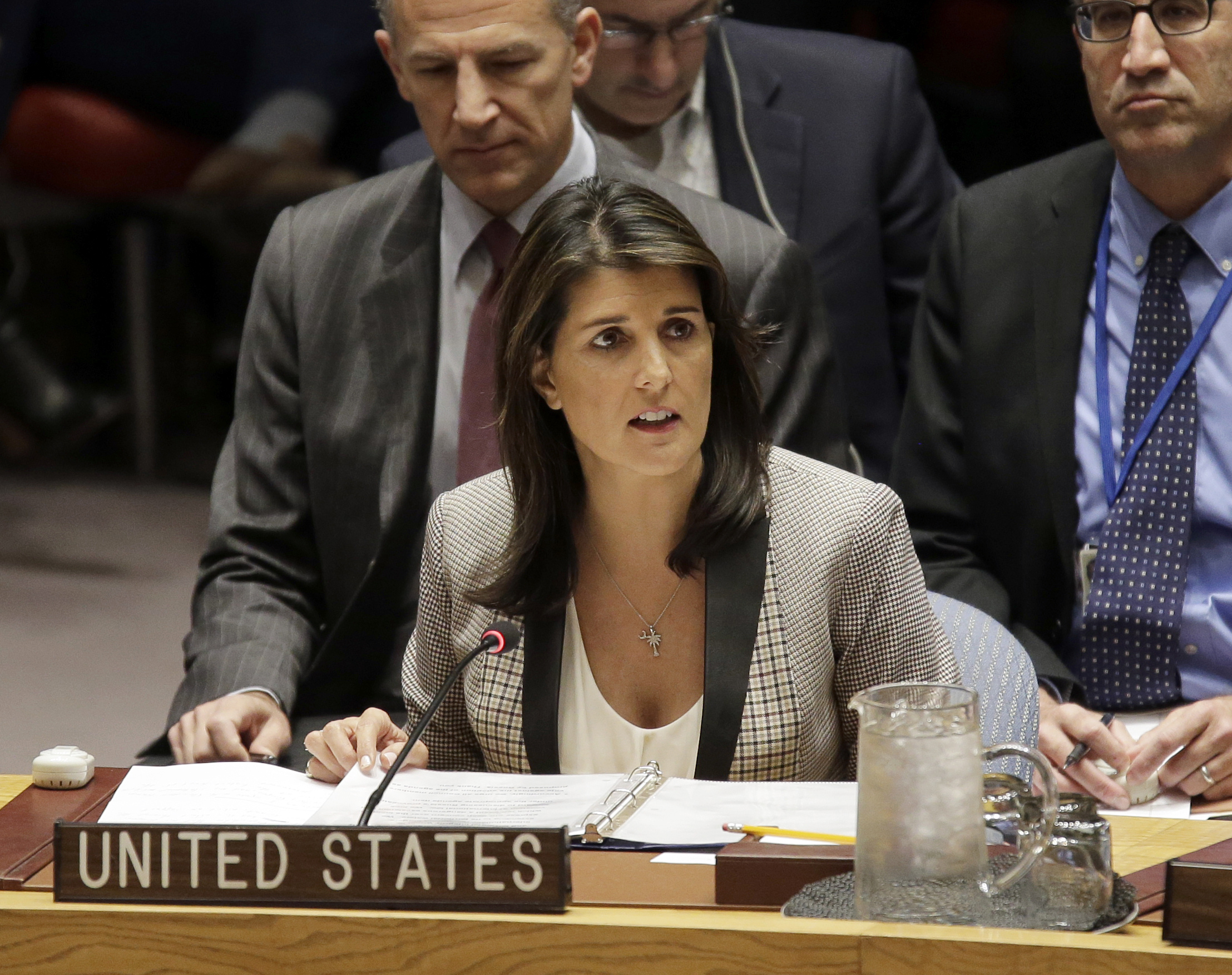 United States Ambassador to the United Nations Nikki Haley speaks during a U.N. Security Council meeting about the escalating tensions between the Ukraine and Russia, at United Nations headquarters in New York, Nov. 26, 2018.
