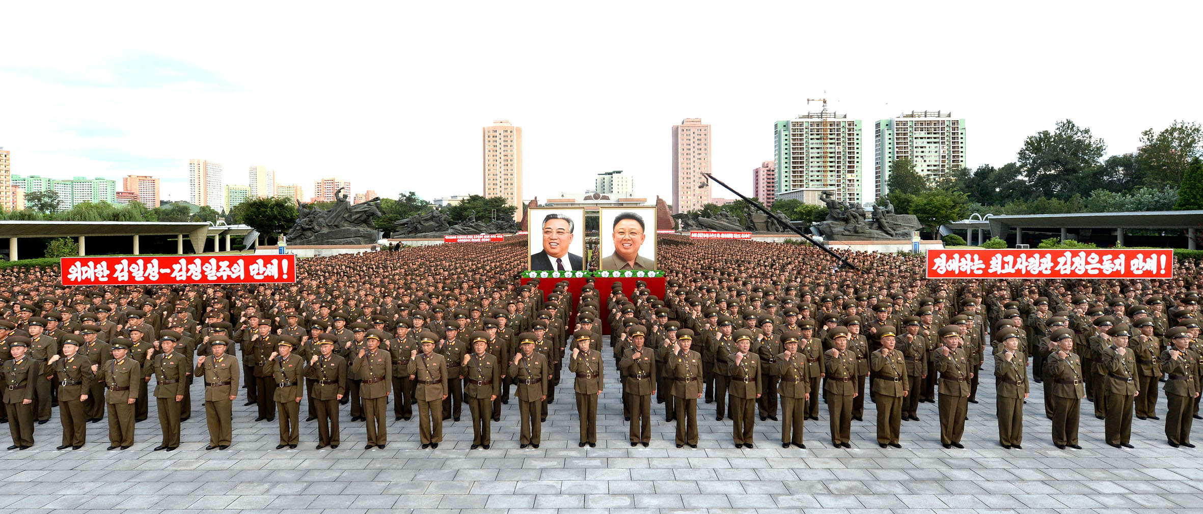 Servicepersons of the Ministry of People's Security met on August 10, 2017 to express full support for the Democratic People's Republic of Korea (DPRK) government statement, in this photo released on Aug. 11, 2017 by North Korea's Korean Central News...