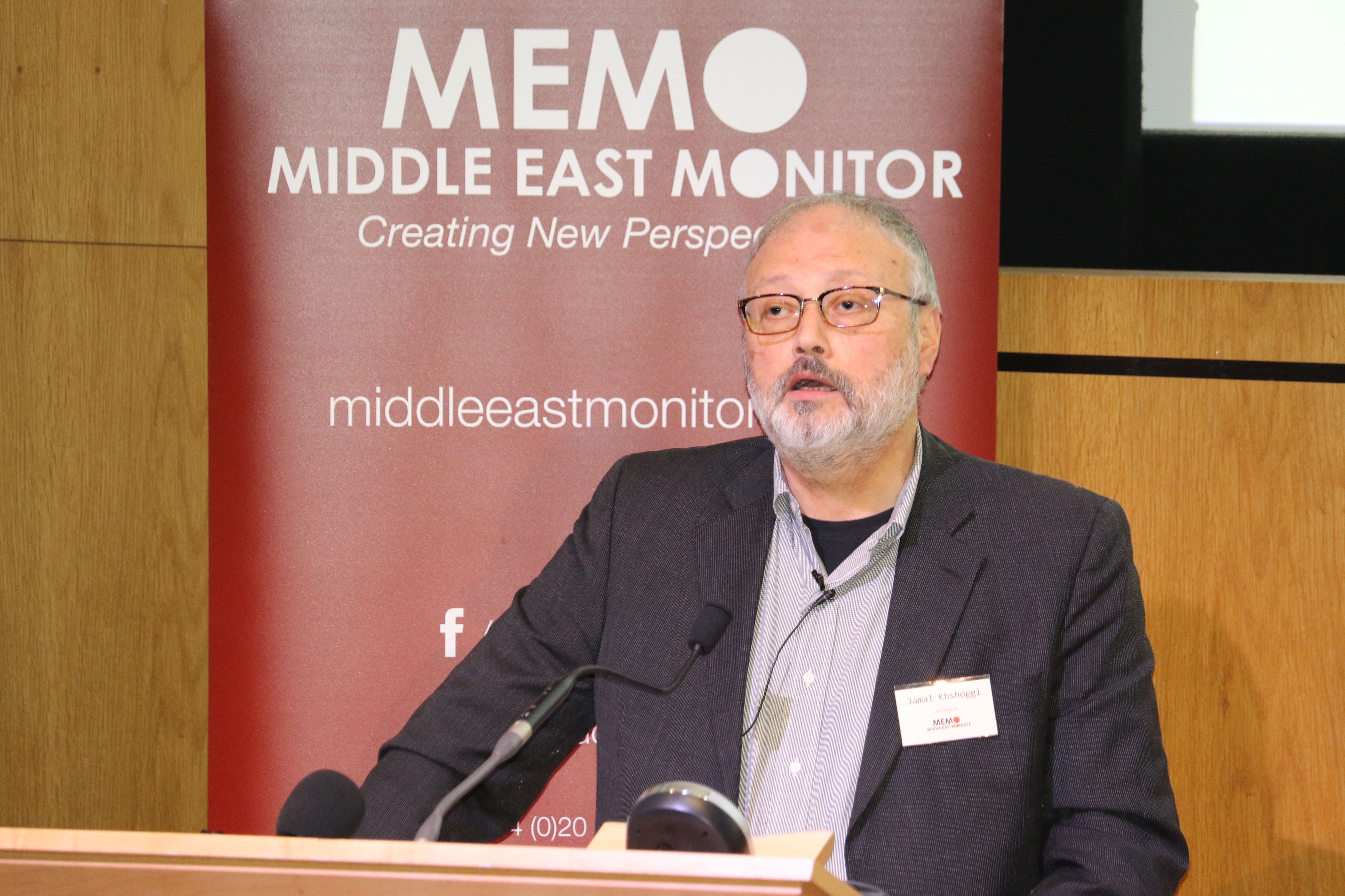 Saudi dissident Jamal Khashoggi speaks at an event hosted by Middle East Monitor in London, Sept. 29, 2018.
