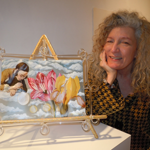 Artist Ginny Ruffner with one of her vibrant glass works.