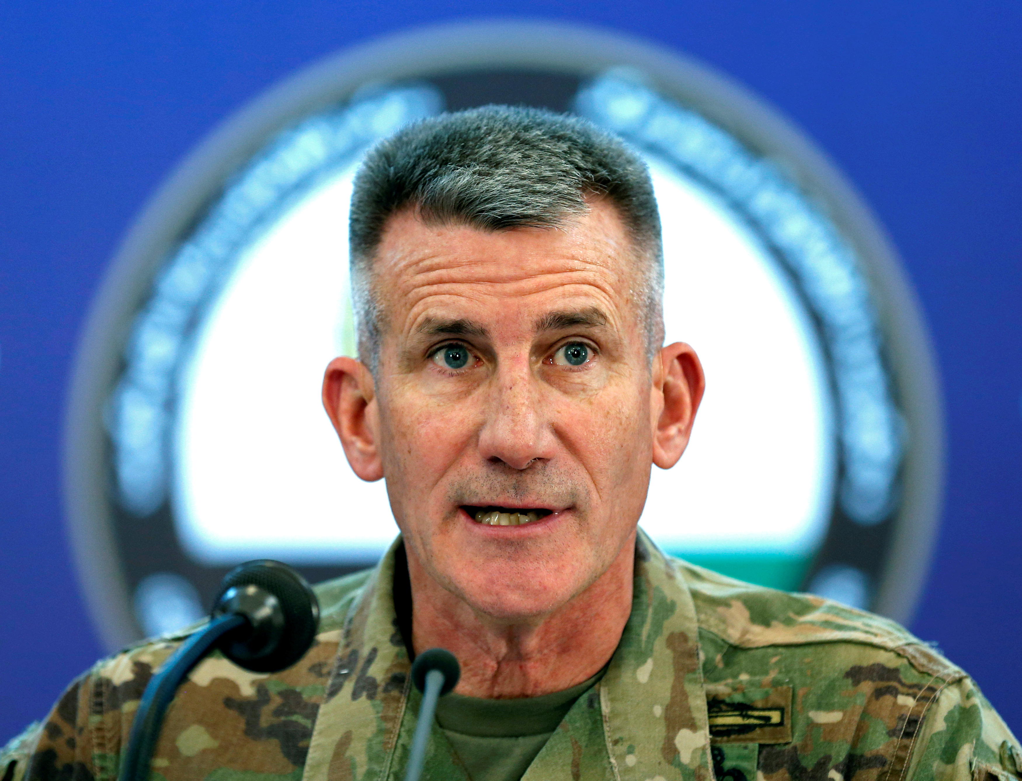 FILE - U.S. Army General John Nicholson, commander of Resolute Support forces and U.S. forces in Afghanistan, speaks during a news conference in Kabul, Afghanistan, Nov. 20, 2017.