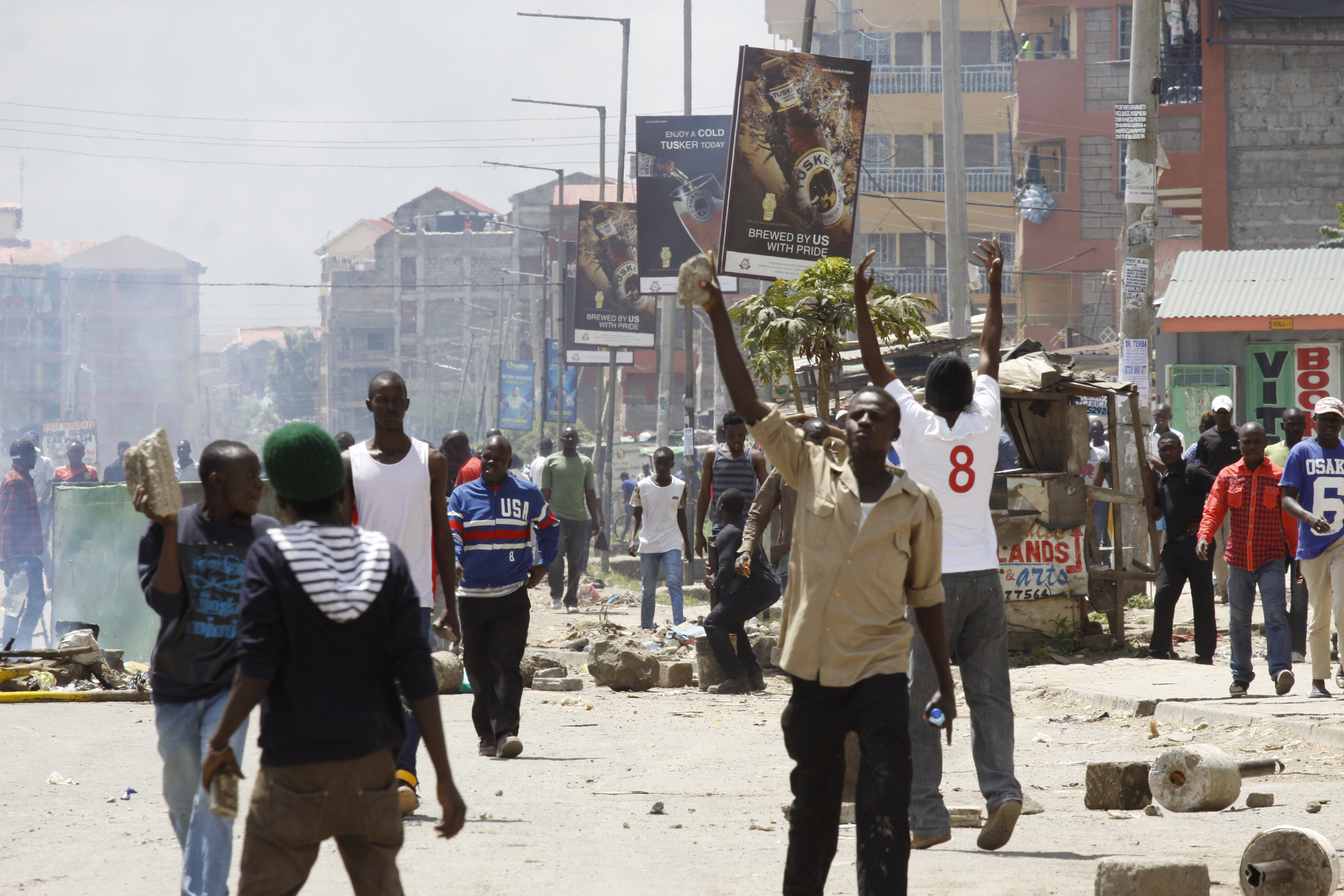 Opposition supporters clash with police in the Jacaranda grounds quarter in Nairobi, Kenya, Nov. 28, 2017.