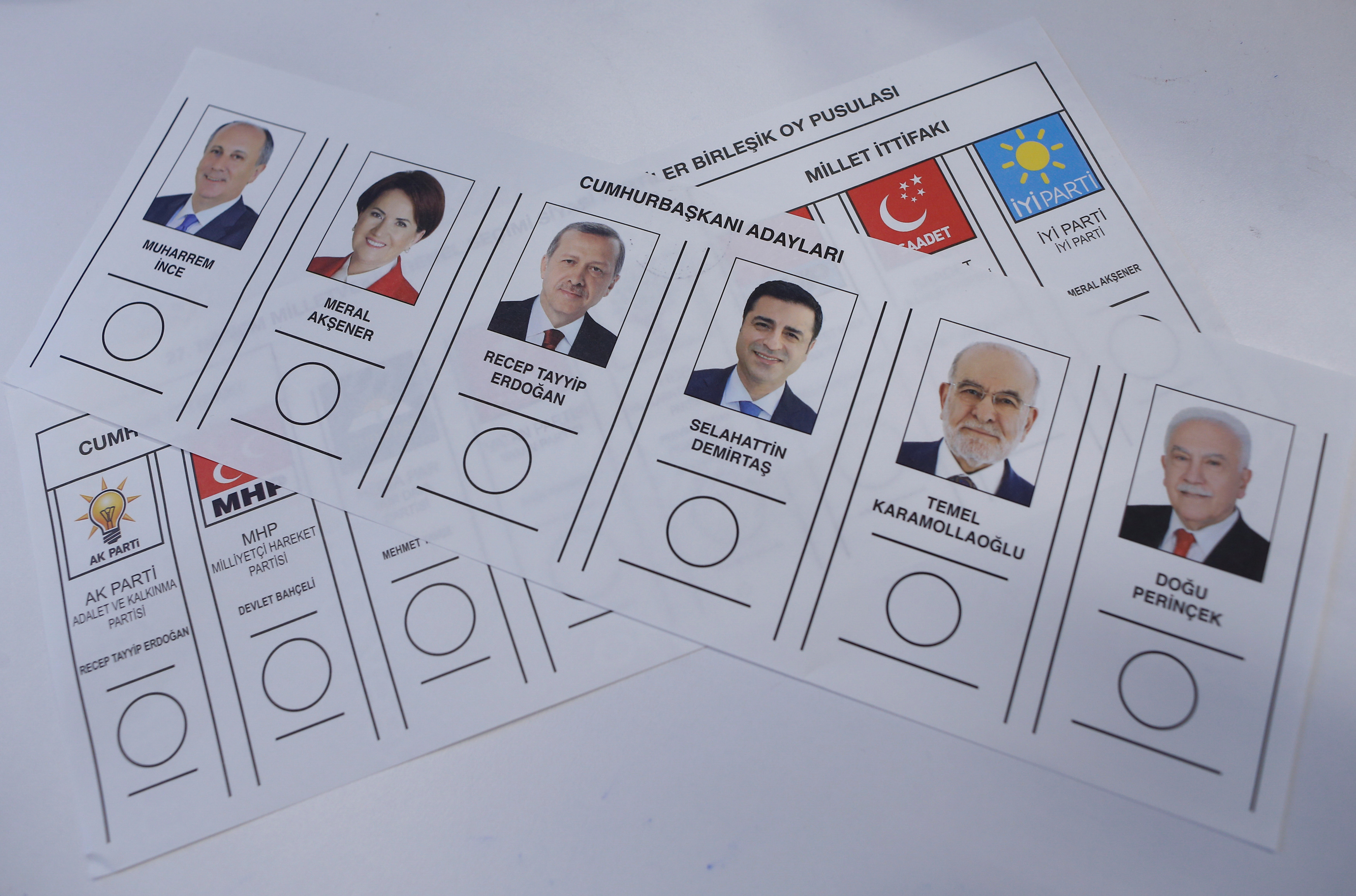 Ballots for Turkey's presidential and parliamentary elections are pictured at a polling station at the departure hall of International Ataturk Airport in Istanbul,  June 9, 2018.