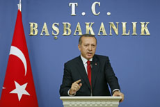 Turkey's Prime Minister Tayyip Erdogan speaks during a news conference in Ankara, Turkey, October 19, 2011.