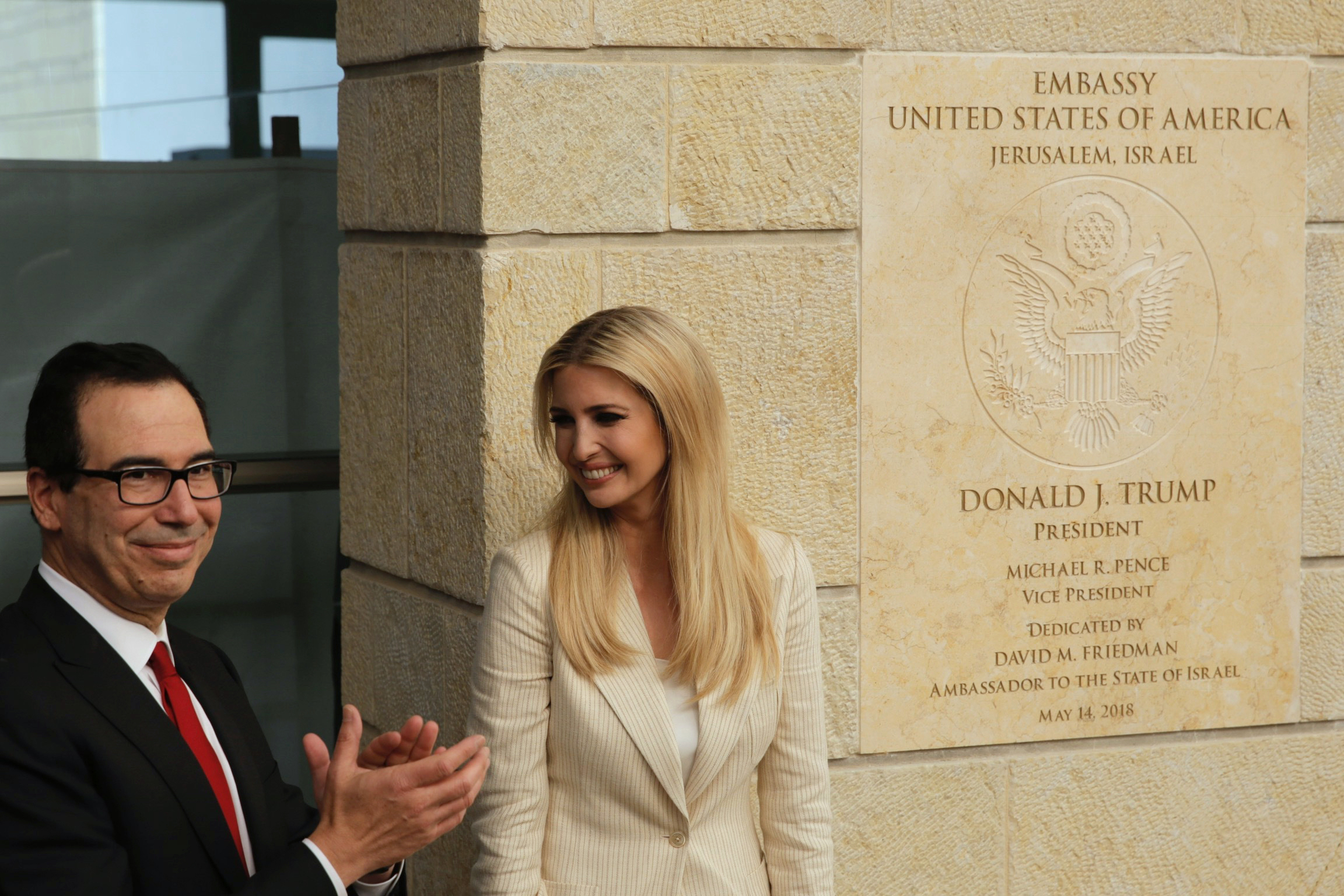 U.S. President Donald Trump's daughter Ivanka Trump, right, and U.S. Treasury Secretary Steve Mnuchin attend the opening ceremony of the new U.S. embassy in Jerusalem, May 14, 2018.