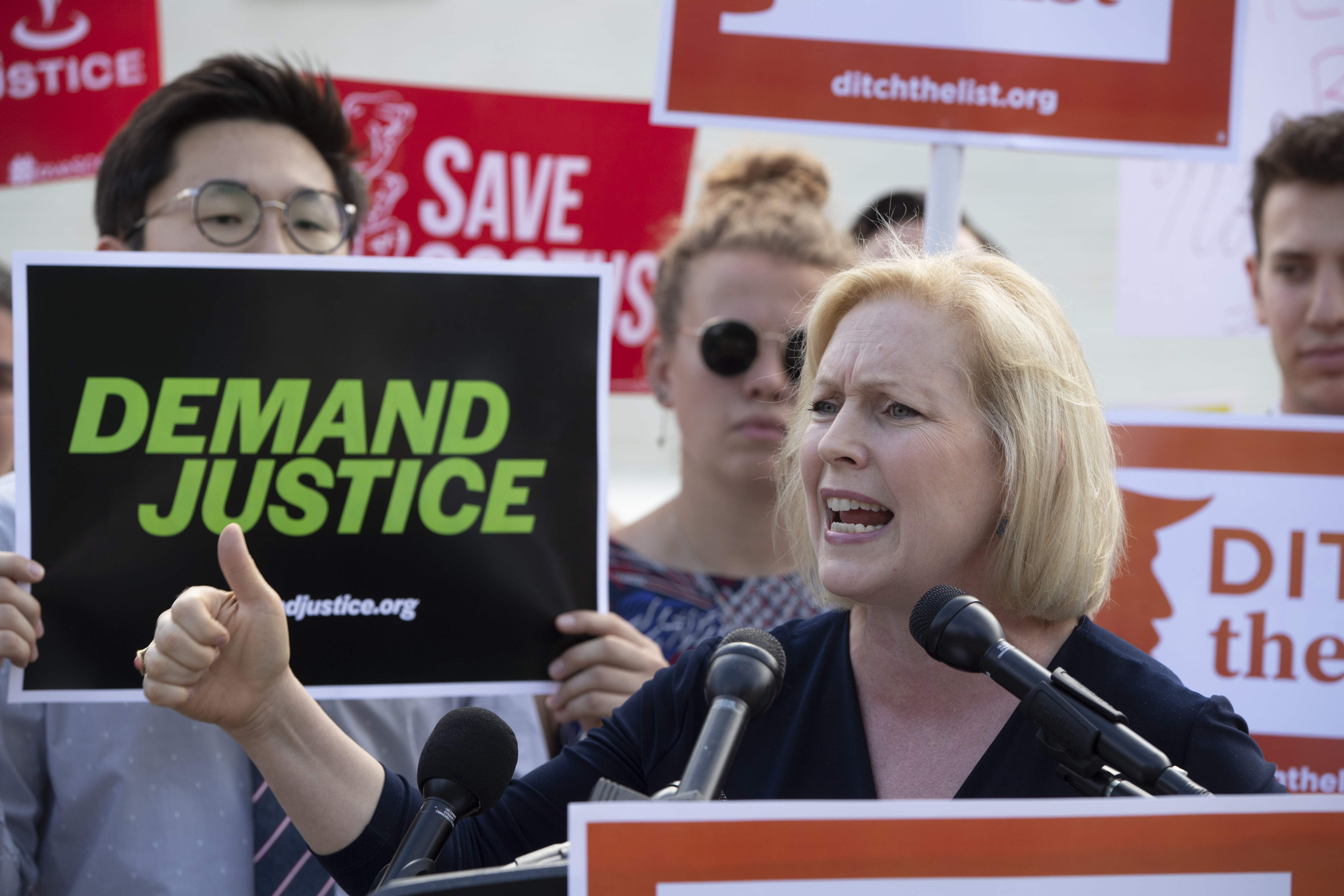 Sen. Kirsten Gillibrand, D-N.Y., joins activists at the Supreme Court as President Donald Trump prepares to choose a replacement for Justice Anthony Kennedy, in Washington, June 28, 2018.  Gillibrand has said Immigration and Customs Enforcement, know...