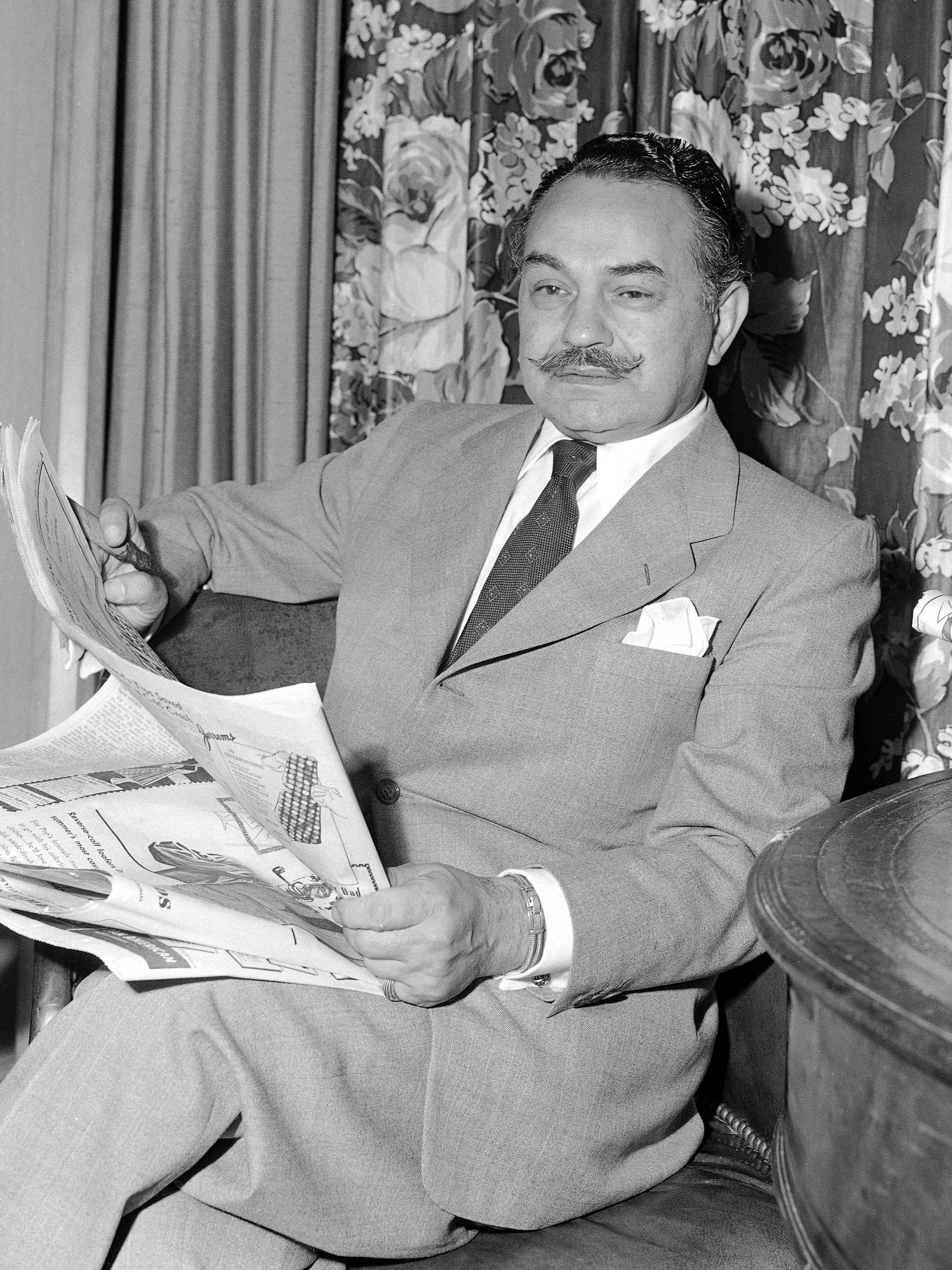 "Film actor, Edward G. Robinson shown June 8, 1949, named in FBI report as an alleged member of the Communist Party and by a California legislative committee. Robinson said ""I am not or have I ever been a member of the Communist Party, or even remot..."