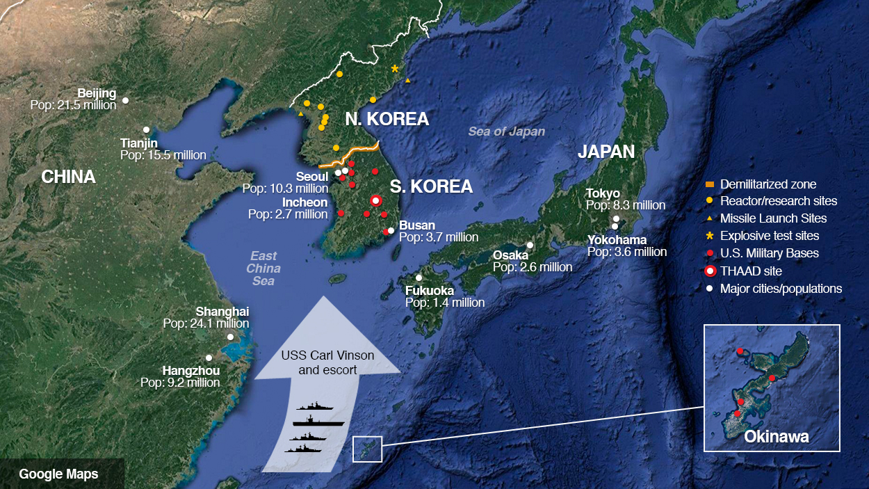 Map of location of missiles, warships near North Korea, South Korea