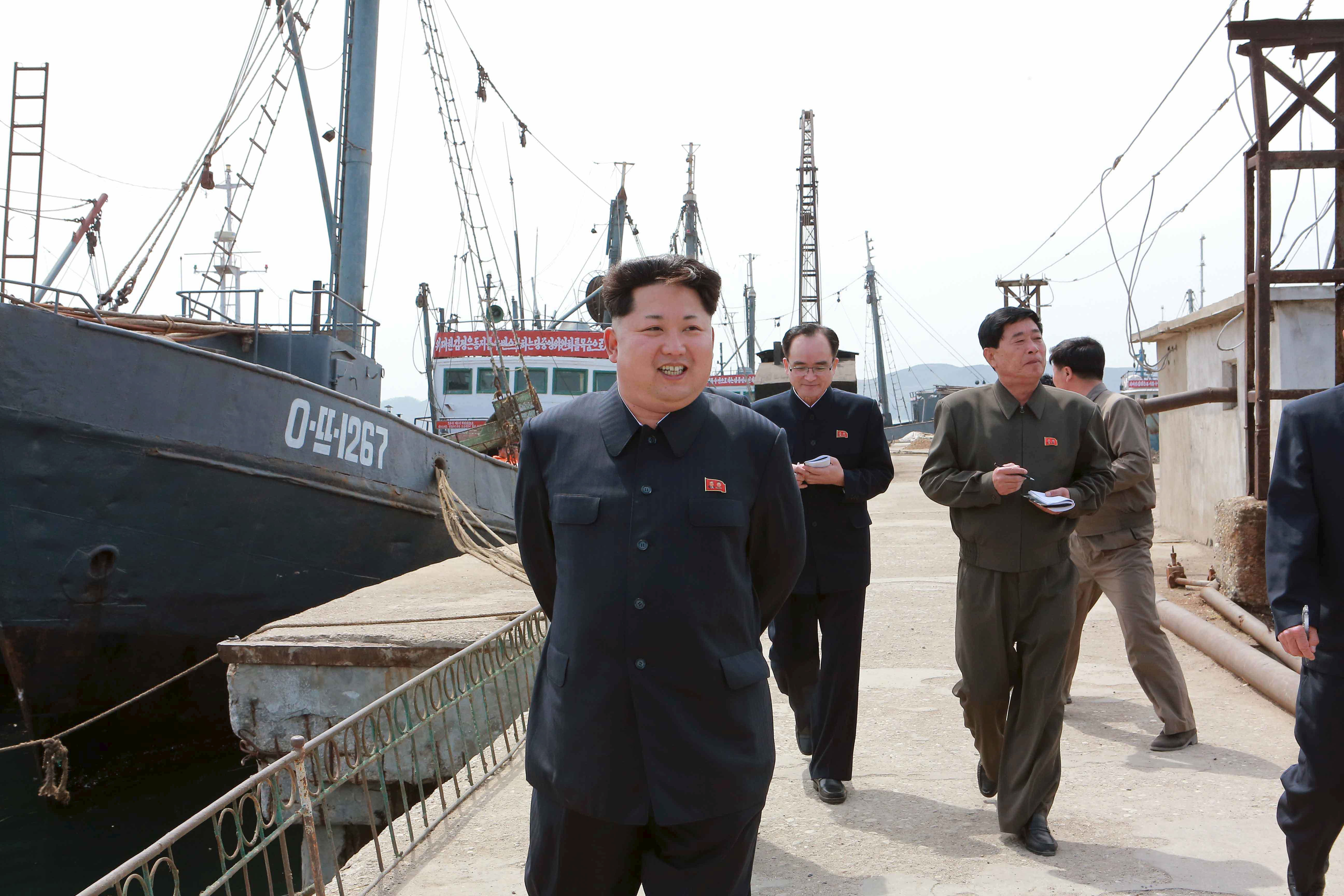 North Korean leader Kim Jong Un provides field guidance at the Sinpho Pelagic Fishery Complex, in this undated photo released by North Korea's Korean Central News Agency (KCNA) in Pyongyang on May 9, 2015.