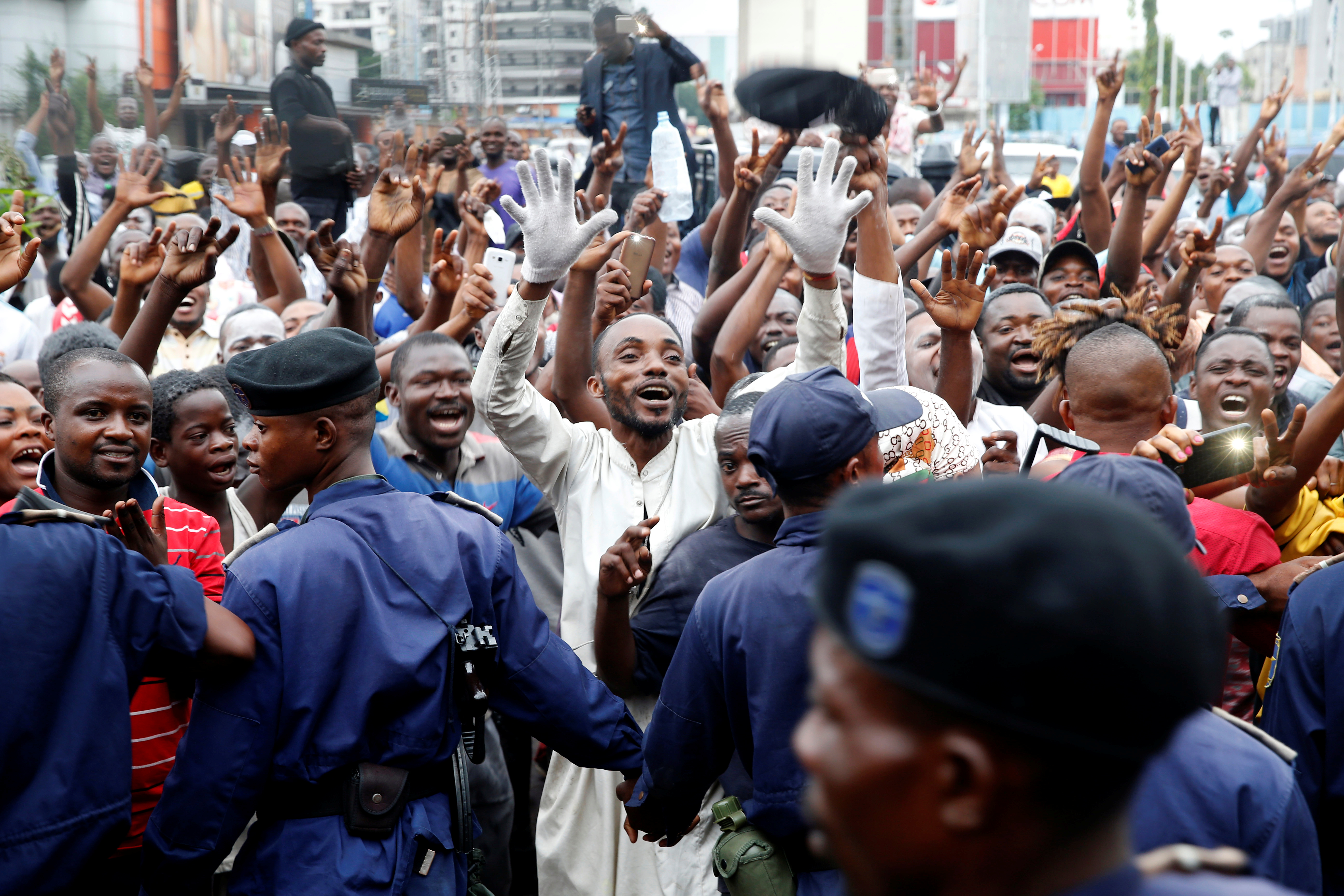 Supporters of Felix Tshisekedi, leader of the Congolese main opposition party, the Union for Democracy and Social Progress who was announced as the winner of the presidential elections, celebrate in the streets of Kinshasa, Democratic Republic of Con...