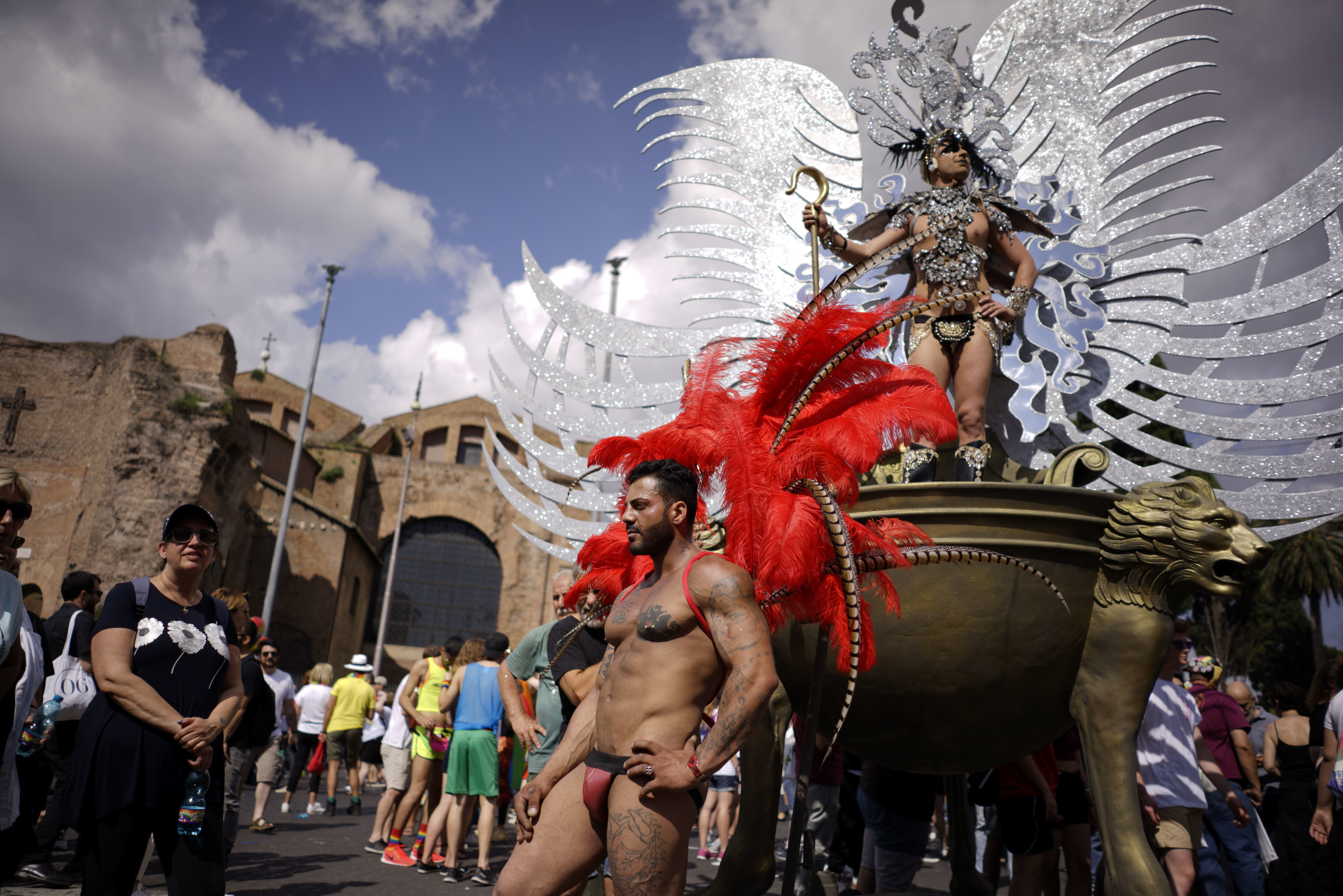 People take part in the annual gay pride parade in Rome, June 9, 2018.
