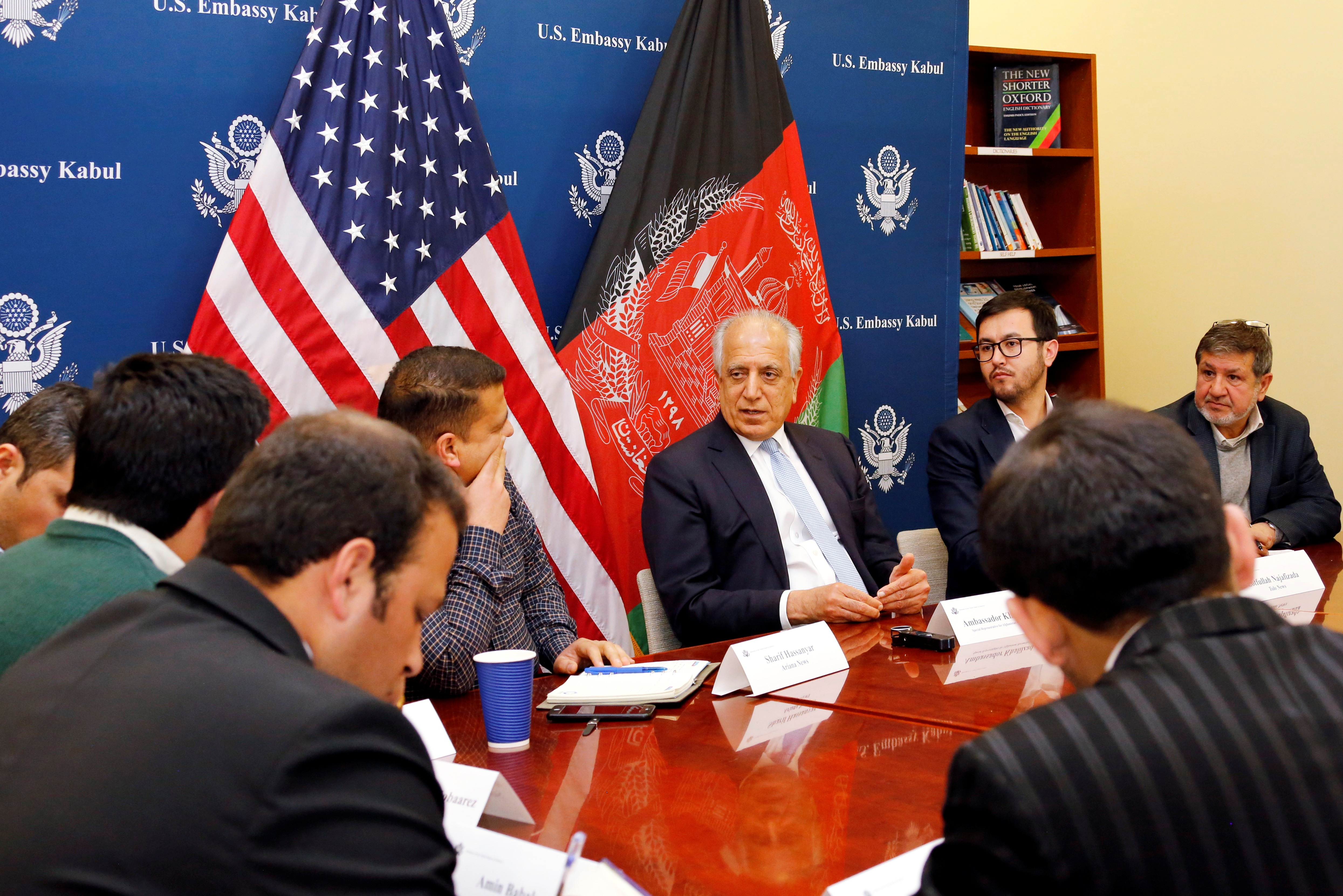 U.S. special envoy for peace in Afghanistan, Zalmay Khalilzad, (C) speaks during a roundtable discussion with Afghan media at the U.S Embassy in Kabul, Jan. 28, 2019. (U.S Embassy/ Handout via Reuters)