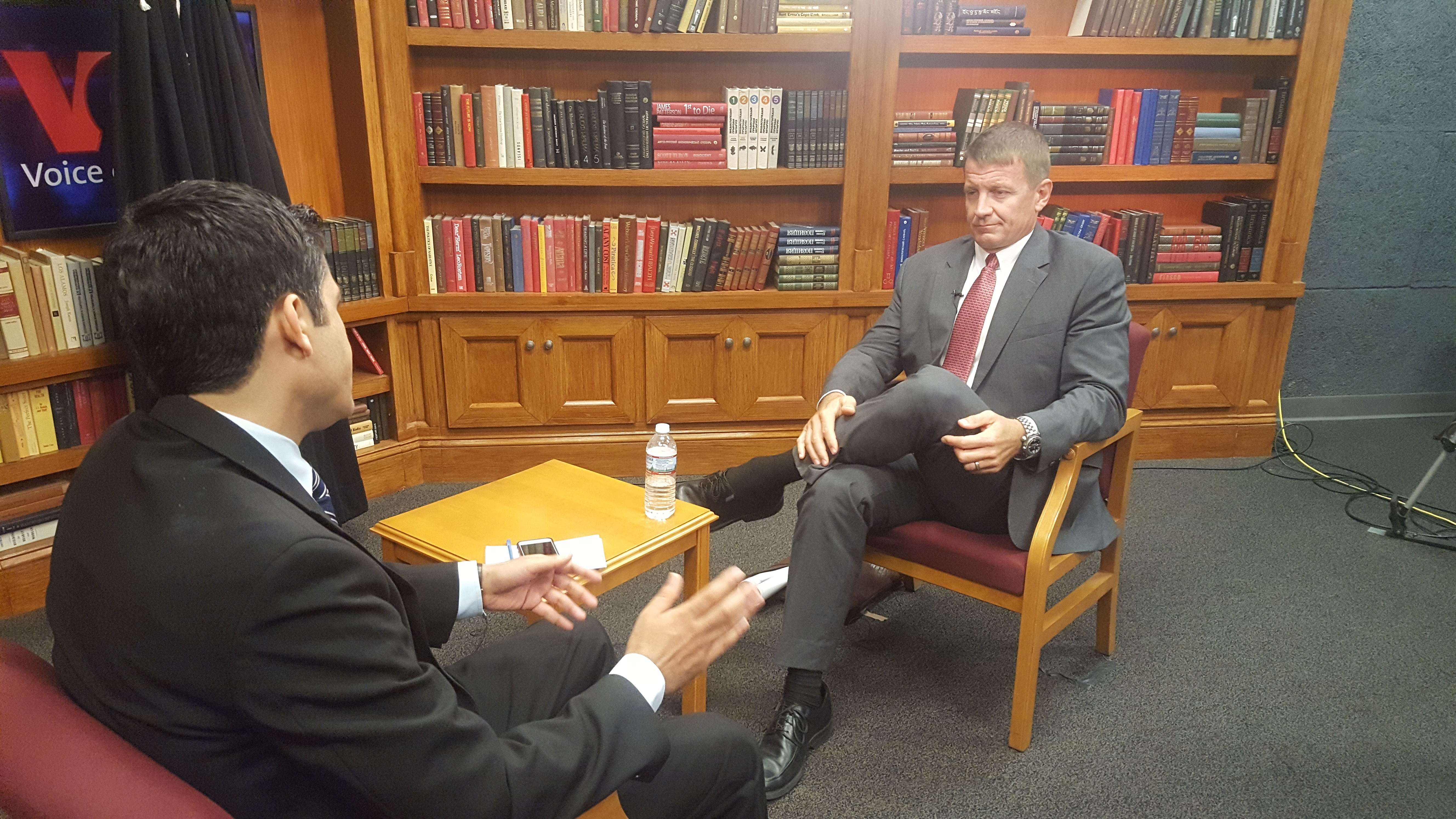 Ayub Khawreen, left, of VOA's Afghan Service interviews Blackwater founder Erik Prince about his controversial proposal to privatize a large portion of the U.S. war in Afghanistan.