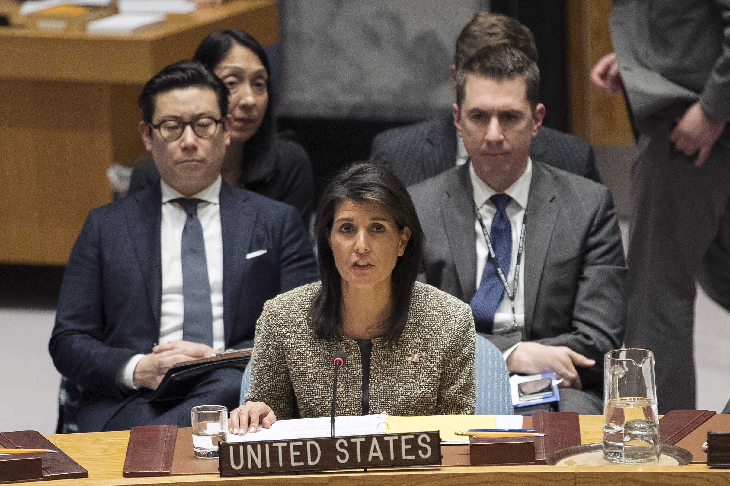 Nikki Haley, U.S. ambassador to the United Nations, speaks during a Security Council meeting on the situation in North Korea, Nov. 29, 2017 at United Nations headquarters.