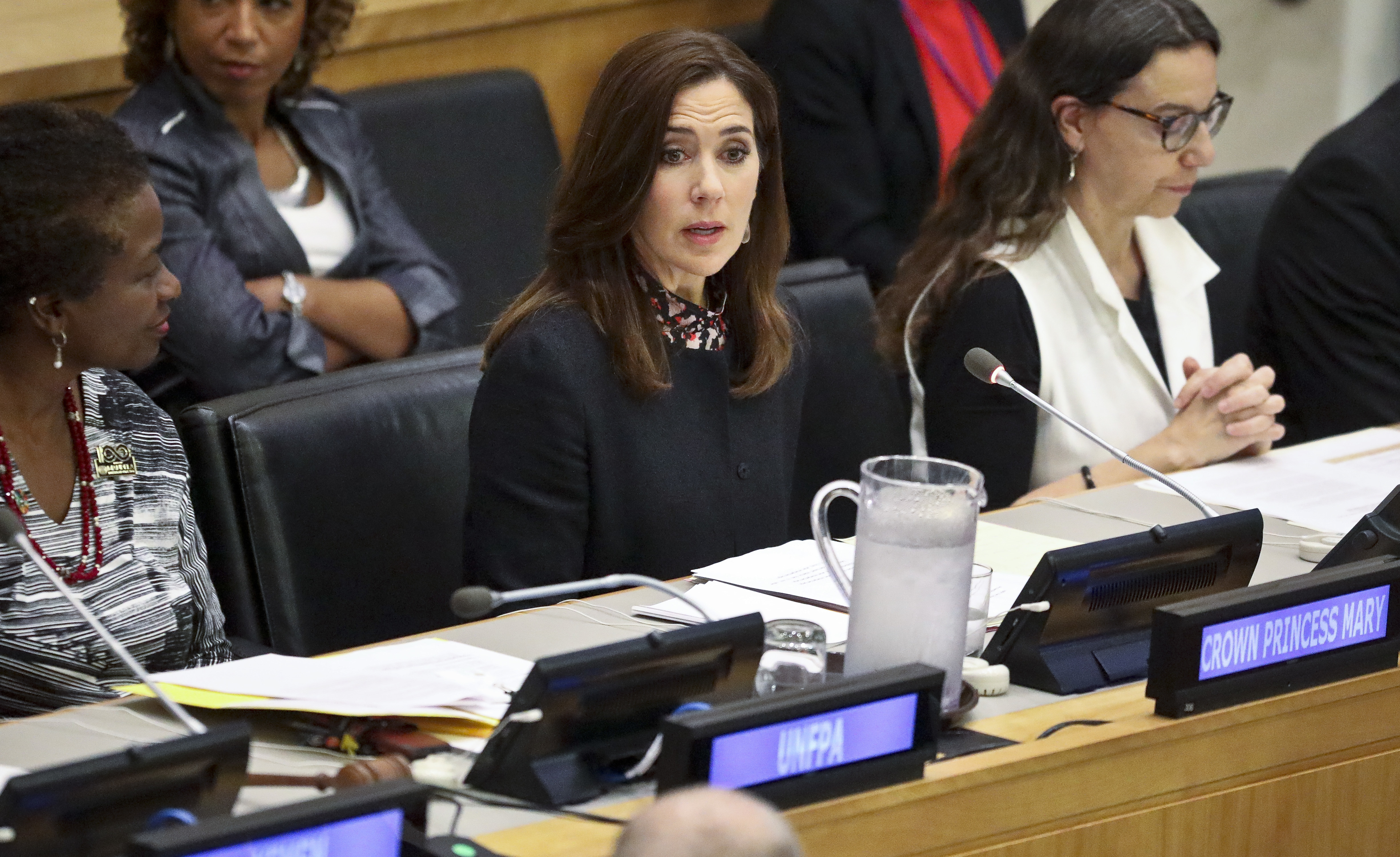 "Her Royal Highness Crown Princess Mary of Denmark, center, address the human rights conference titled ""Protecting Health Rights of Women and Girls Affected by Conflict,"" during the U.N General Assembly, Sept. 24, 2018 at U.N. headquarters."