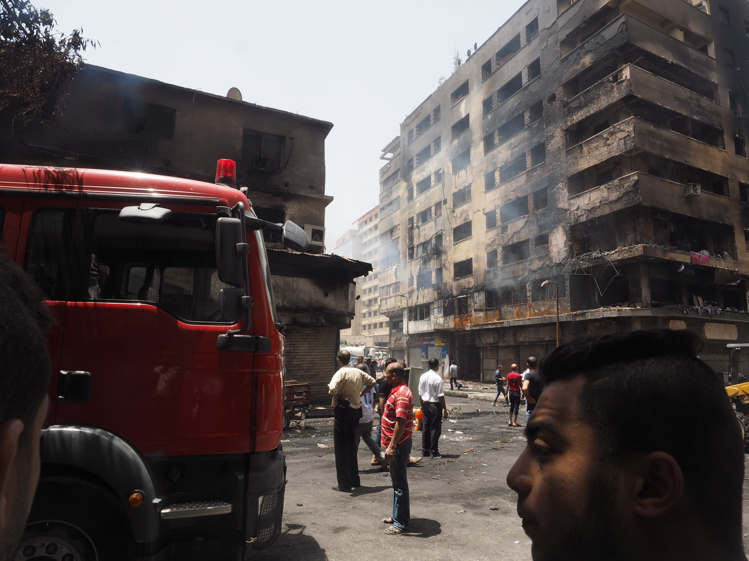 The fire is believed to have started in this hotel structure on late Sunday night and continued burning though Wednesday, May 11, 2016,  Cairo.  (VOA/Hamada Elrasam)