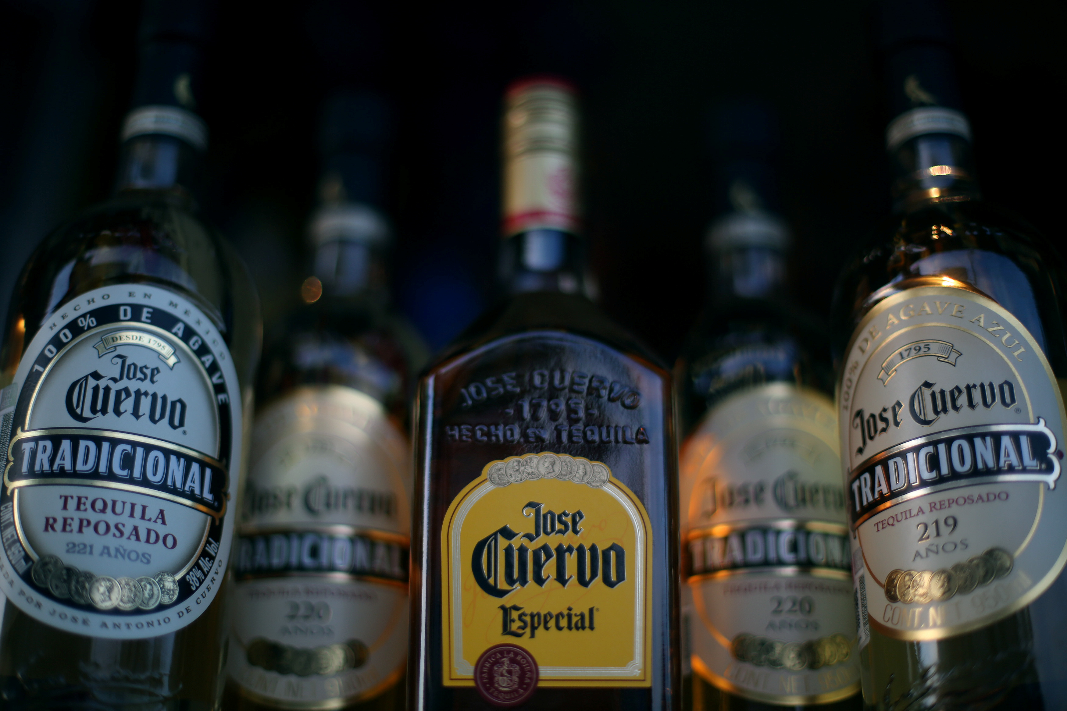 Bottles of Jose Cuervo Tequila rest on a shelf in Mexico City, Mexico, Feb. 8, 2017.