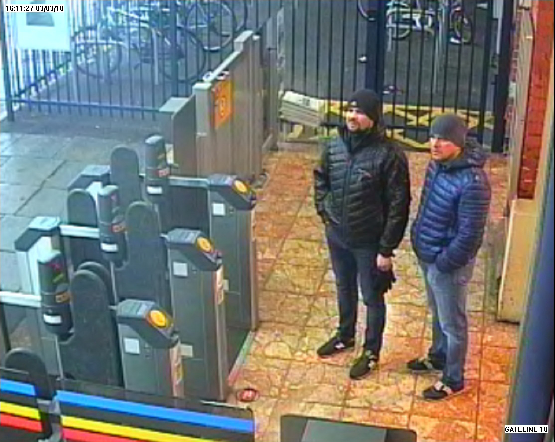 Alexander Petrov and Ruslan Boshirov, who were formally accused of attempting to murder former Russian intelligence officer Sergei Skripal and his daughter Yulia in Salisbury, are seen on CCTV at Salisbury Station, March 3, 2018, in an image handed o...