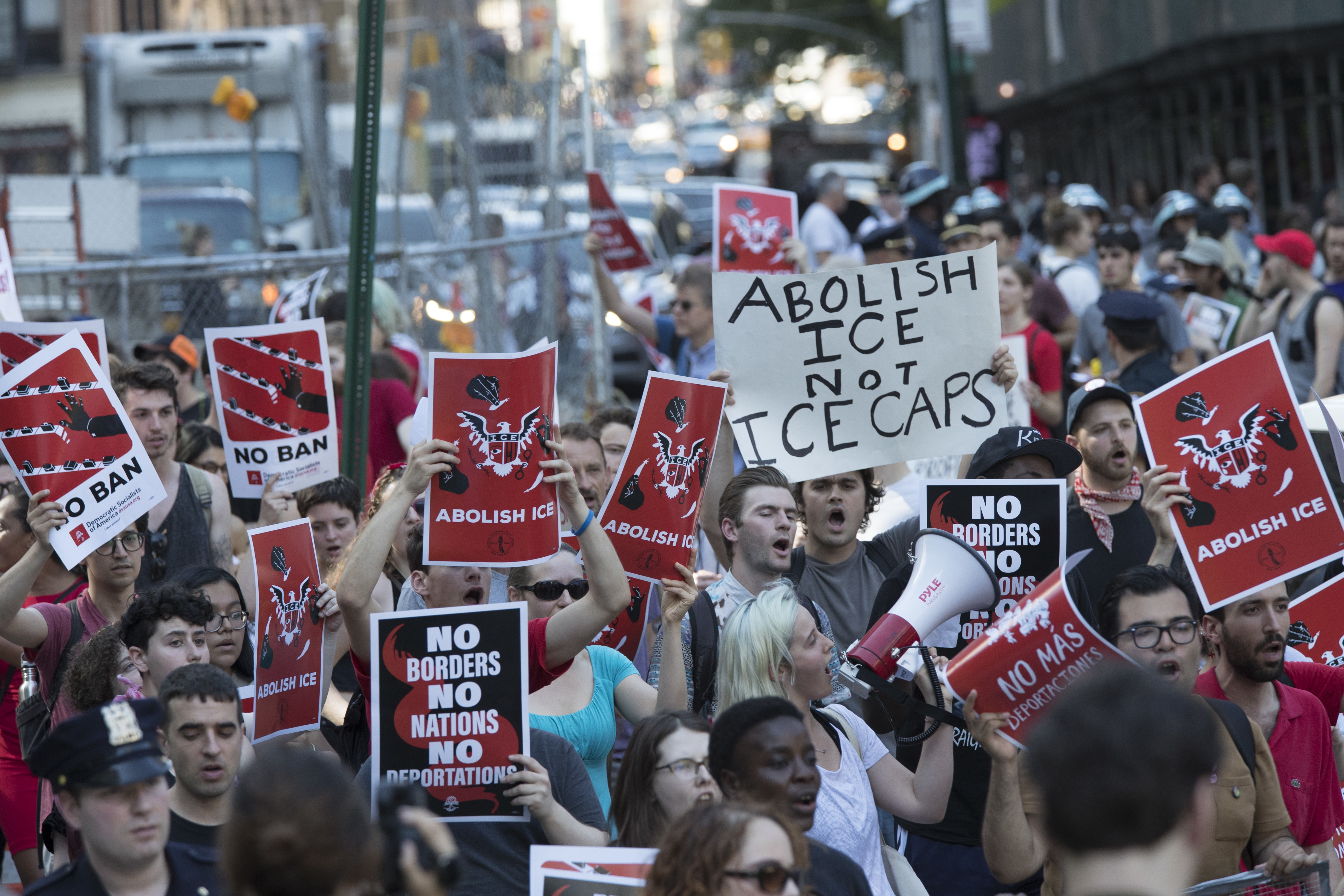Protesters chant slogans as they march during a demonstration calling for the abolishment of Immigration and Customs Enforcement, or ICE, and demand changes in U.S. immigration policies, Friday, June 29, 2018, in New York.