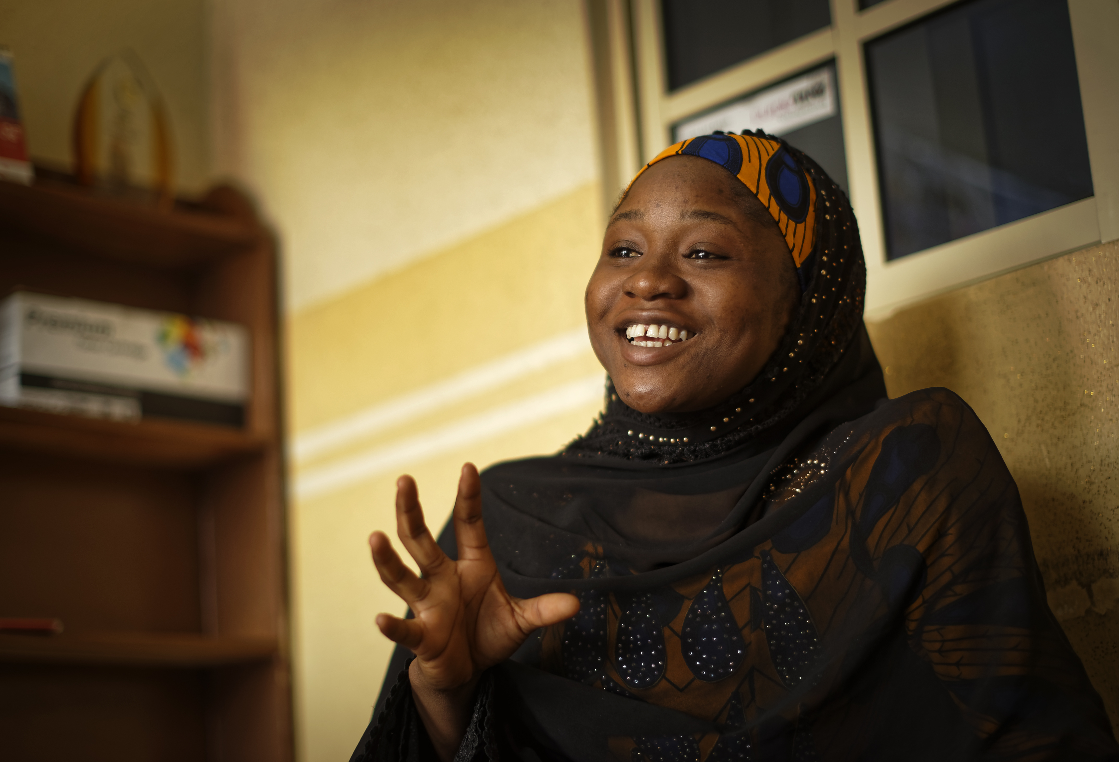 FILE - Zainab Sulaiman Umar, 26, a candidate for the State House of Assembly in Kumbotso constituency, Kano state, speaks to the Associated Press at an activists office in Kano, northern Nigeria, Feb. 15, 2019.