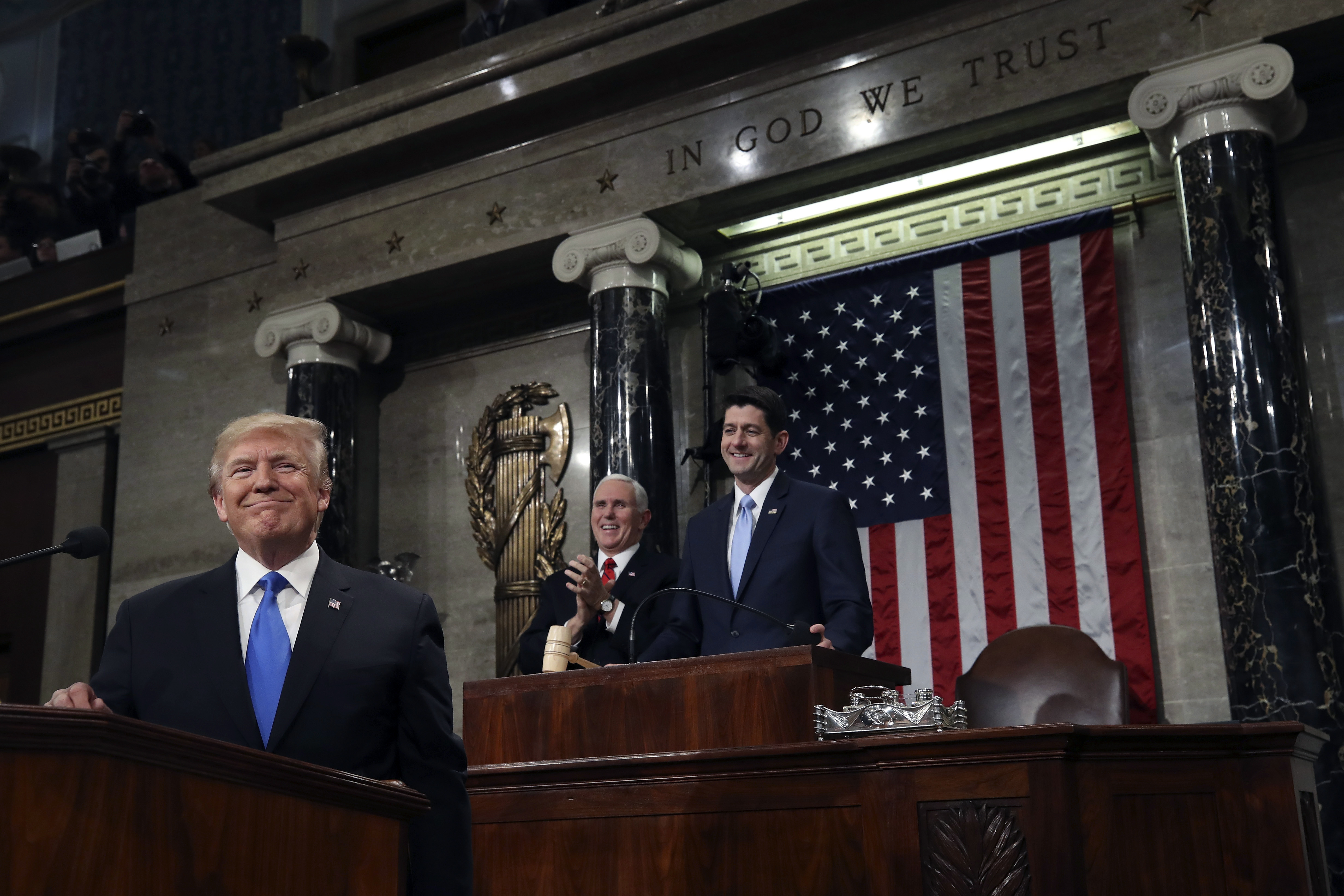 President Donald Trump pauses as delivers his first State of the Union address in the House chamber of the U.S. Capitol to a joint session of Congress, Jan. 30, 2018 in Washington.