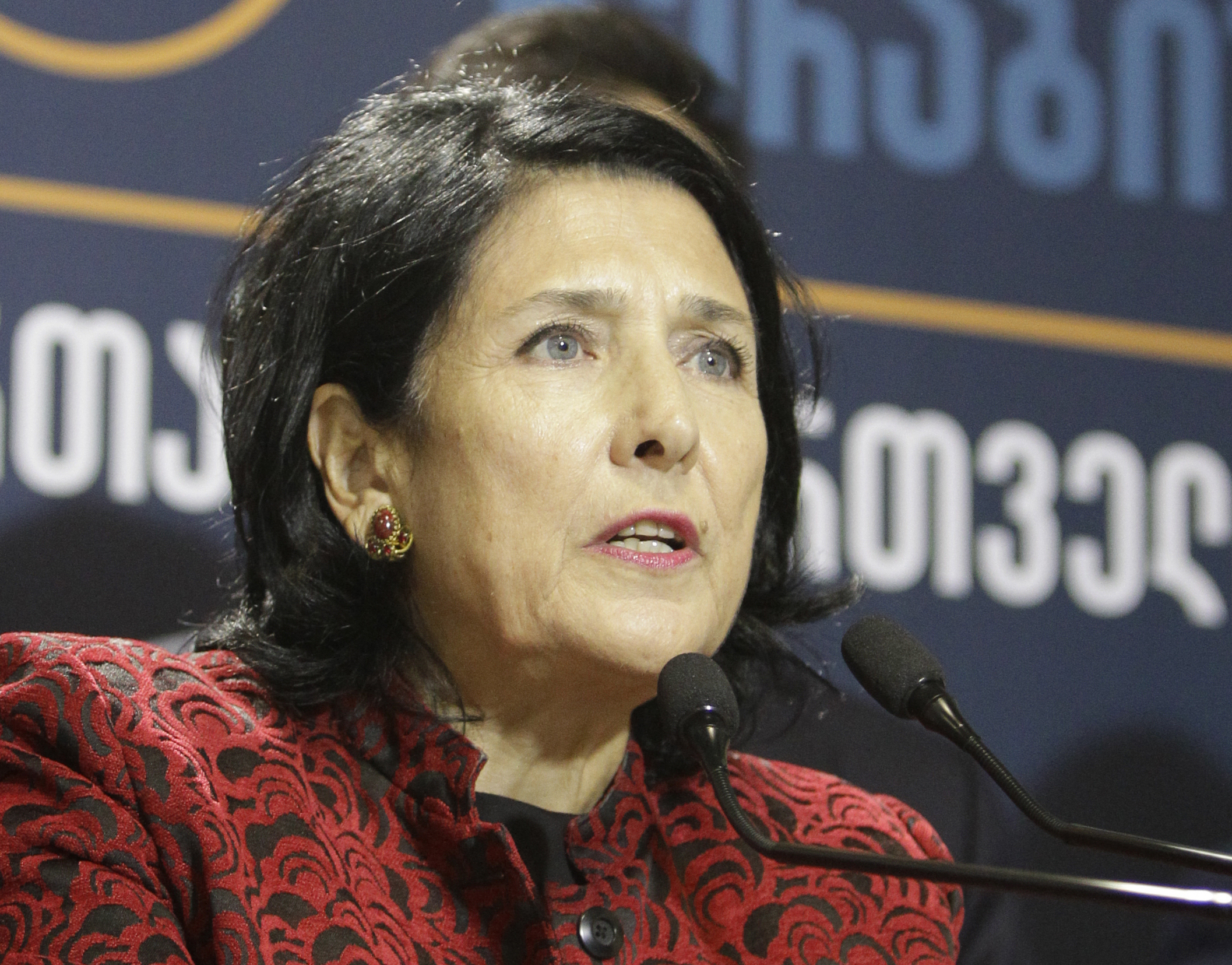 Salome Zurabishvili, former Georgian foreign minister, speaks during a news briefing at her campaign headquarters in Tbilisi, Georgia, Nov. 28, 2018.