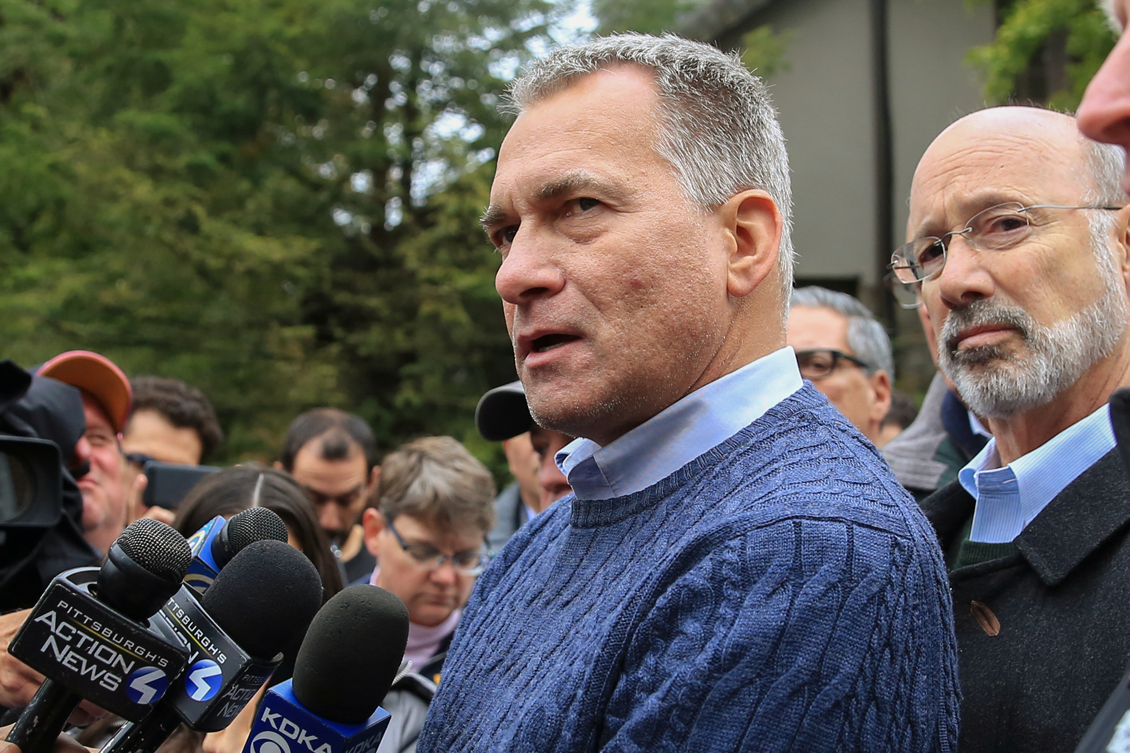Wendell Hissrich, Pittsburgh public safety director, speaks to media as Pennsylvania Governor Tom Wolf, right, looks on after a gunman opened fire at the Tree of Life synagogue in Pittsburgh, Pa., Oct. 27, 2018.