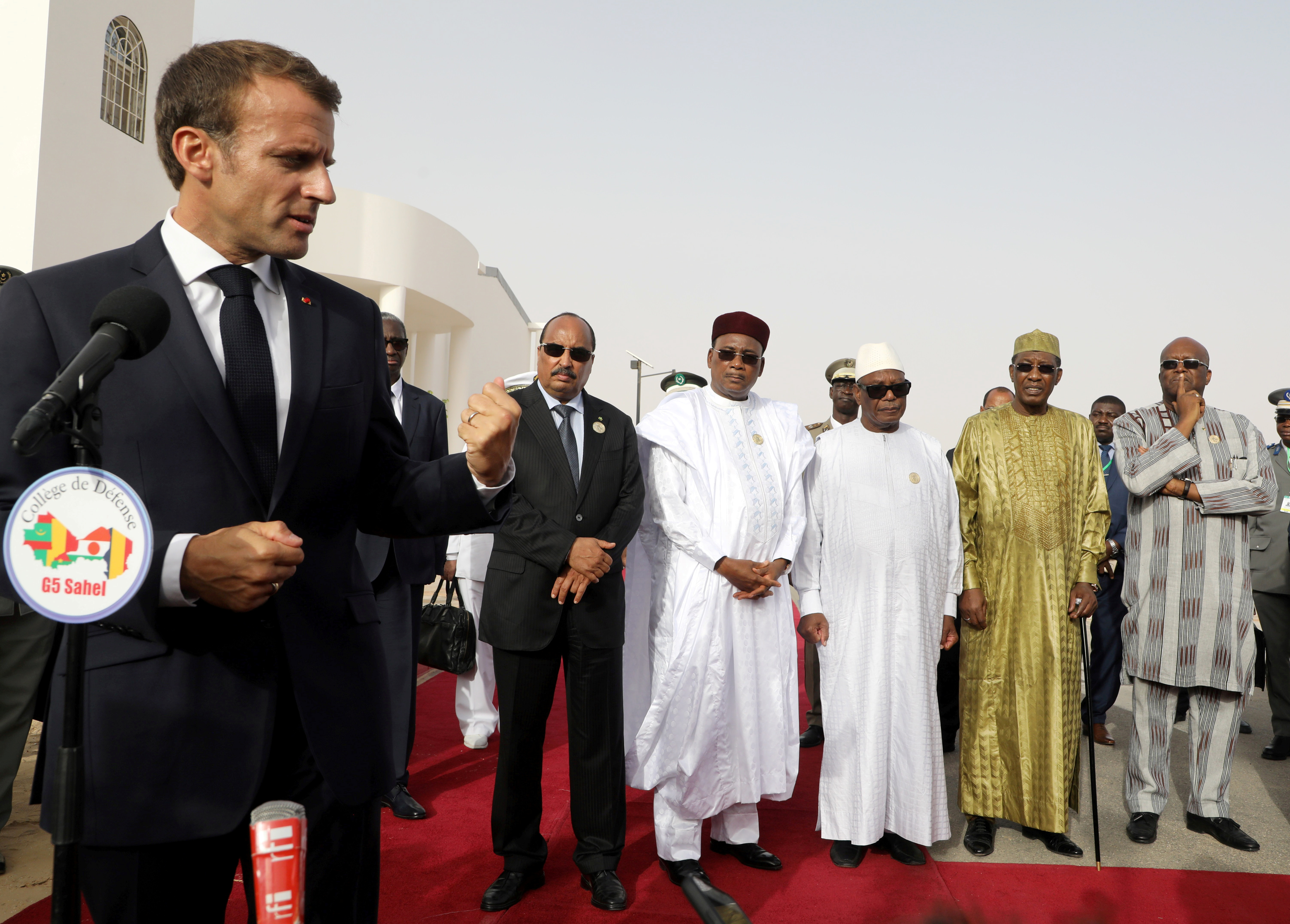 French President Emmanuel Macron delivers a speech during a press conference ahead of a G5 Sahel force meeting in Nouakchott, Mauritania, July 2, 2018.