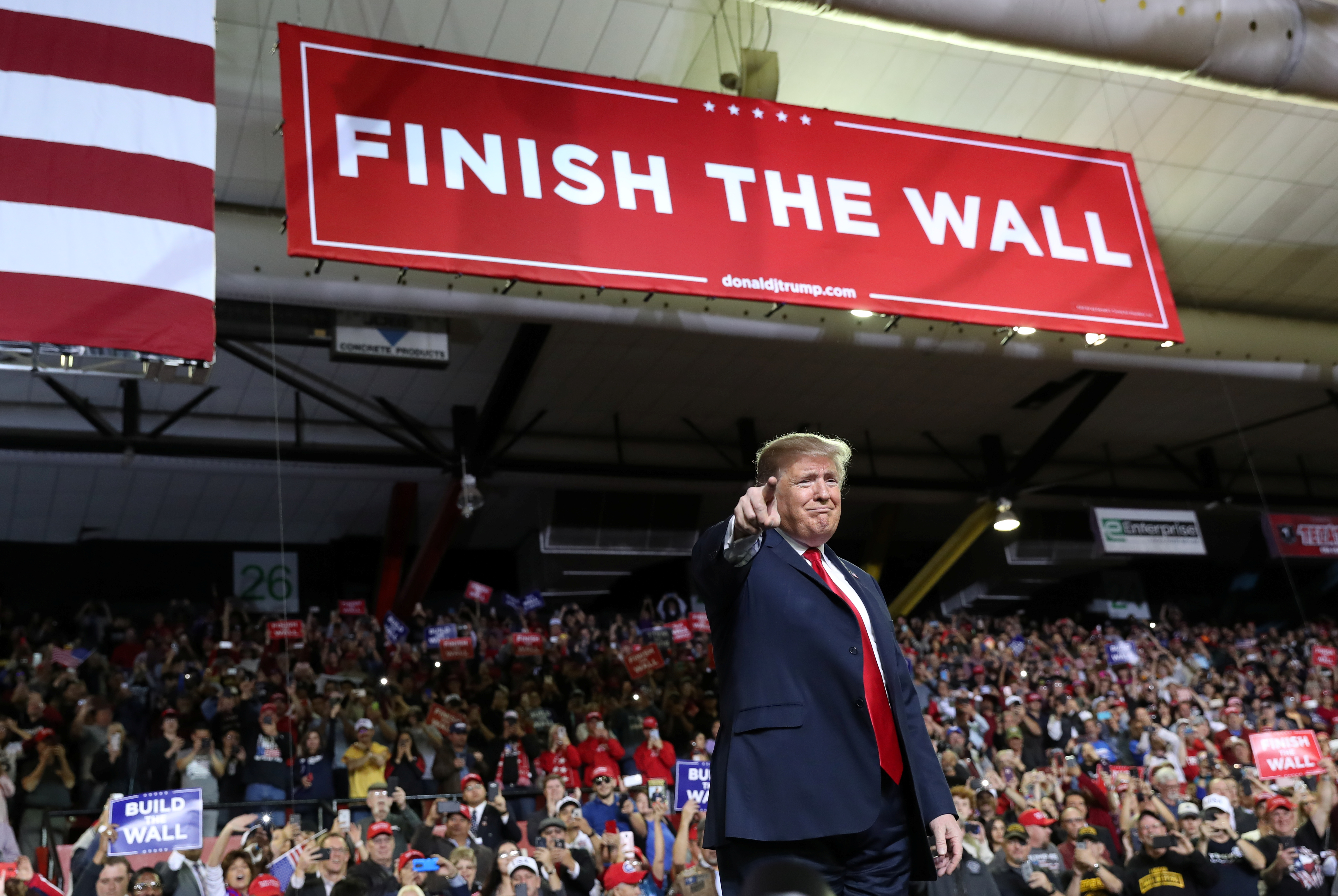 U.S. President Donald Trump speaks during a campaign rally at El Paso County Coliseum in El Paso, Texas, Feb. 11, 2019.