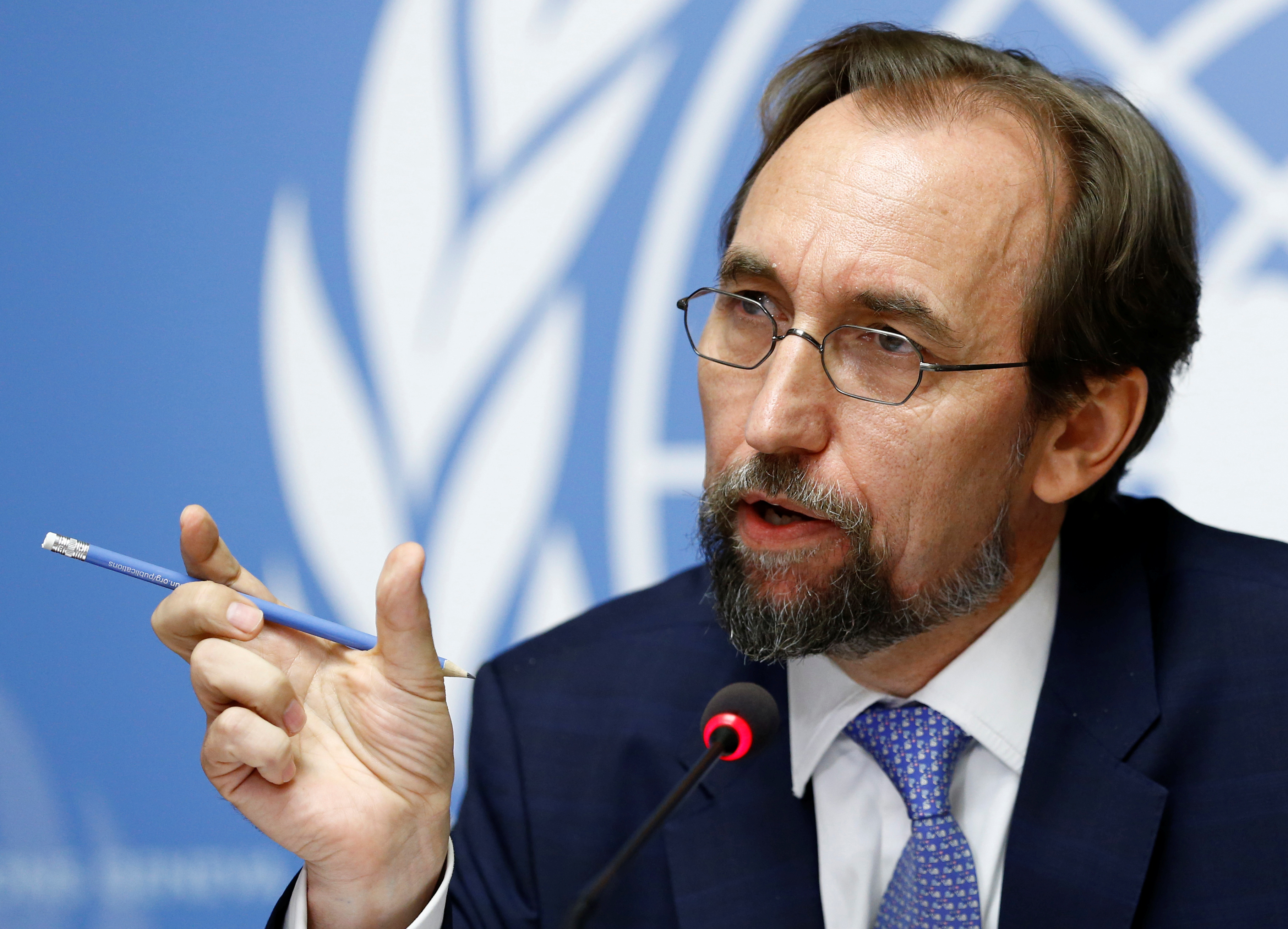 Zeid Ra'ad Al Hussein, U.N. High Commissioner for Human Rights attends a news conference on Venezuela at the United Nations Office in Geneva, Switzerland, Aug. 30, 2017.
