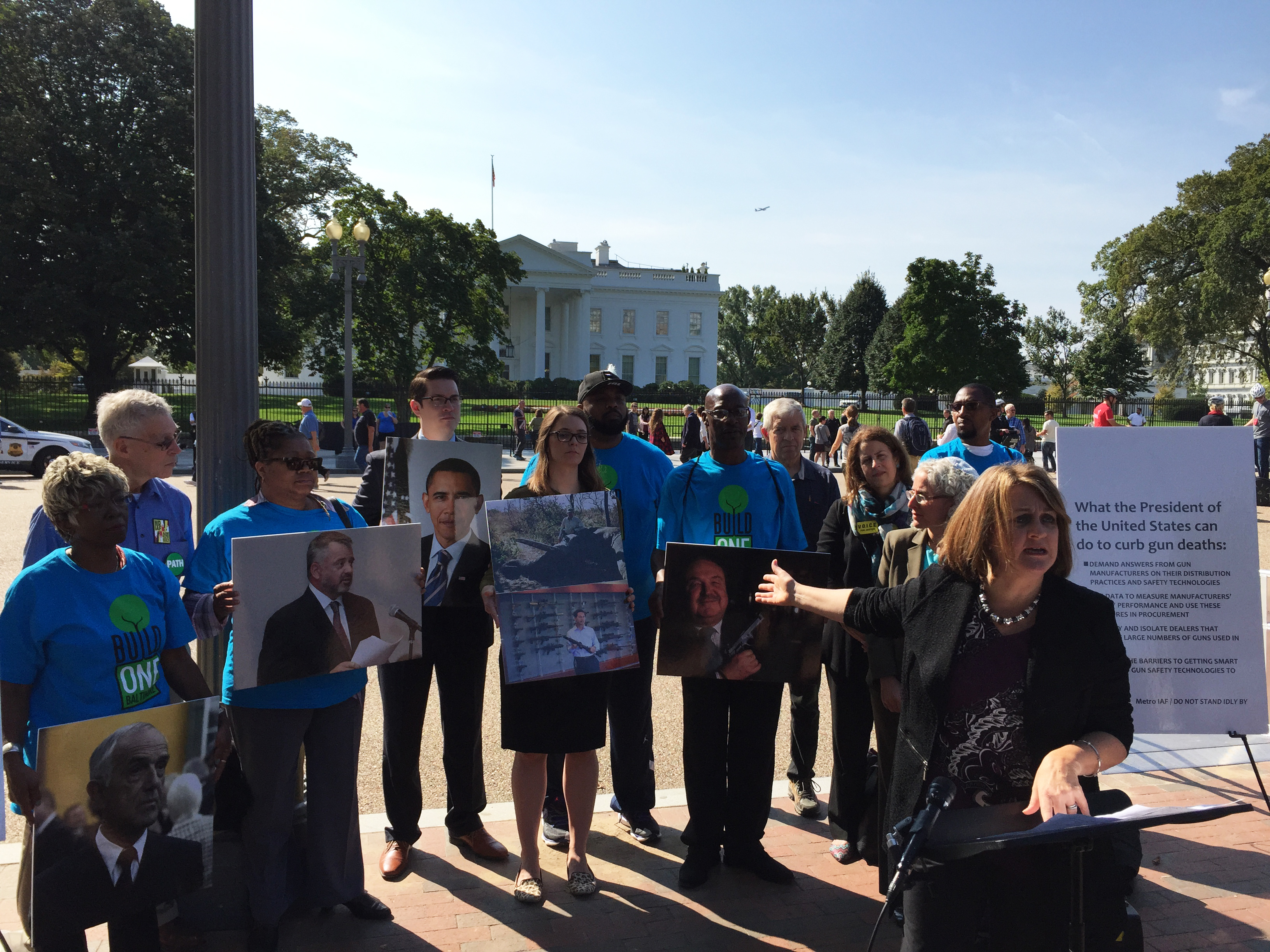 DiAne Boese was accidentally shot in the face by another child when she was three-years-old. She joined a group across the street from the White House Thursday, calling on the president to pressure gun manufacturers for more smart gun technology. (VO...
