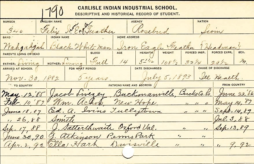 Information card on Felix Iron Eagle Feather, a member of the Sioux Nation, who entered Carlisle Indian Industrial school in November 1882. National Archives and Records Administration, identifier RG 75, Series 1327, box 37, folder 1790