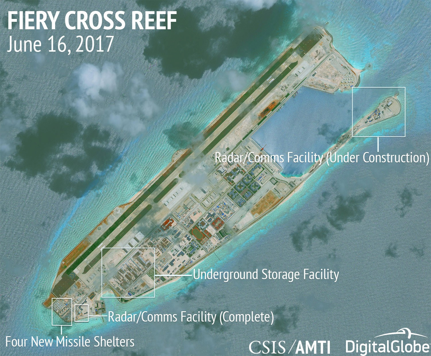 Construction is shown on Fiery Cross Reef in the Spratly Islands, the disputed South China Sea, in this June 16, 2017, satellite image released by CSIS Asia Maritime Transparency Initiative at the Center for Strategic and International Studies (CSIS)...