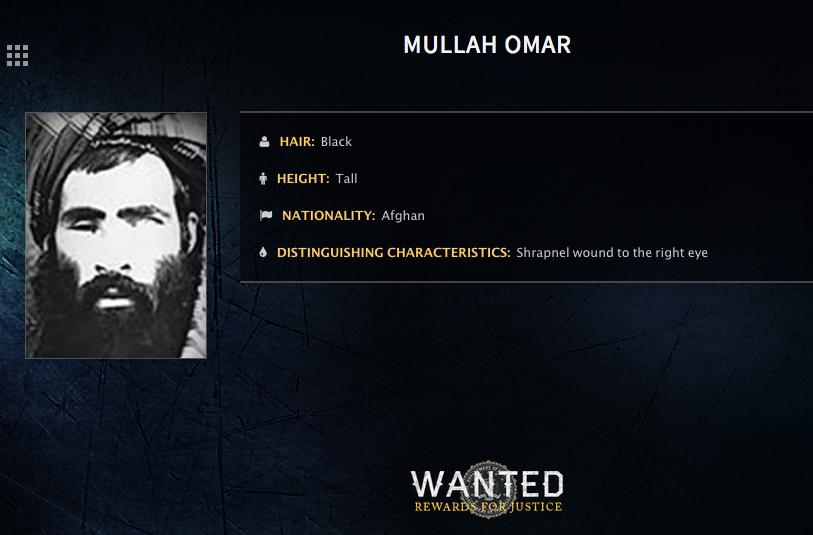 FILE - In this undated image released by the FBI, Mullah Omar is seen in a wanted poster. An Afghan official said his government is examining claims that reclusive Taliban leader Mullah Omar is dead.