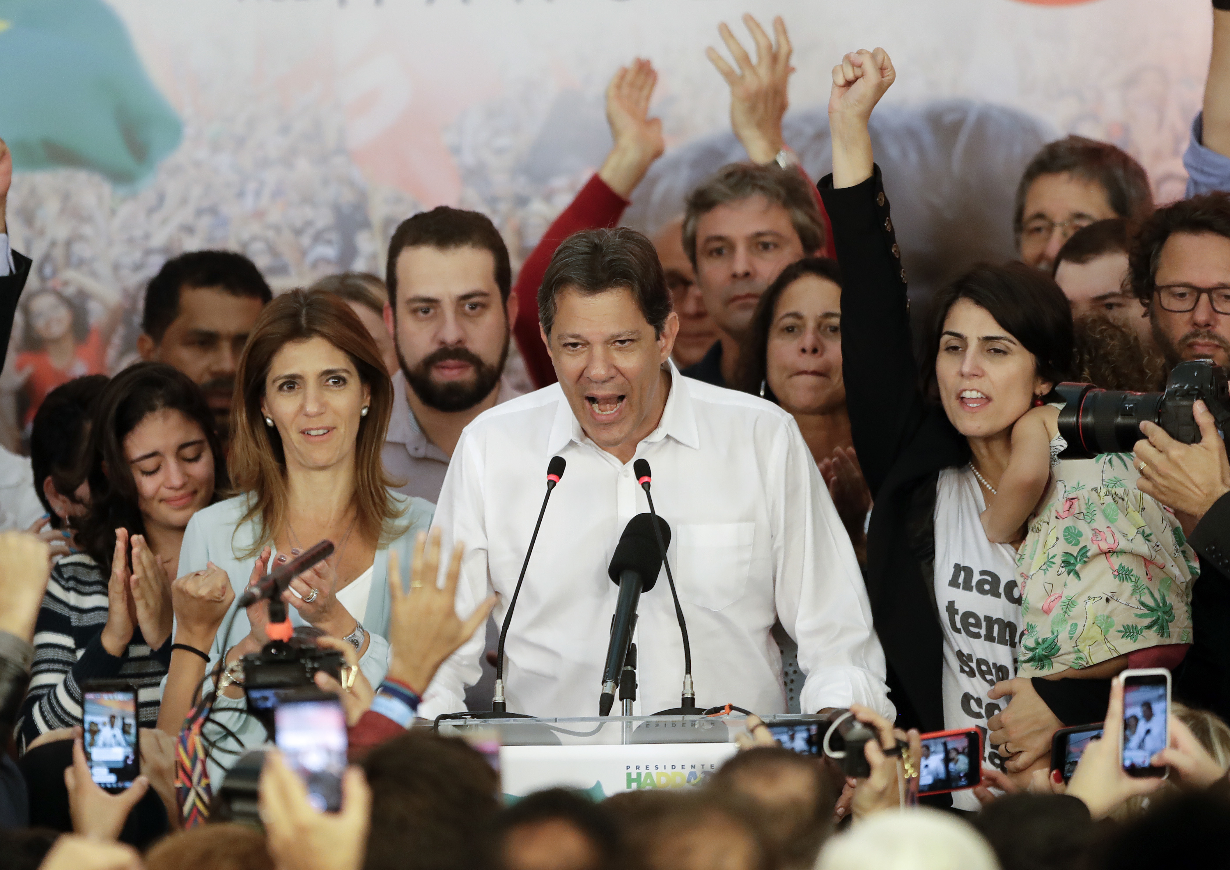 Workers' Party presidential candidate Fernando Haddad delivers his concession speech, in Sao Paulo, Brazil, Sunday, Oct. 28, 2018. Brazil's Supreme Electoral Tribunal declared far-right congressman Jair Bolsonaro the next president of Latin America...