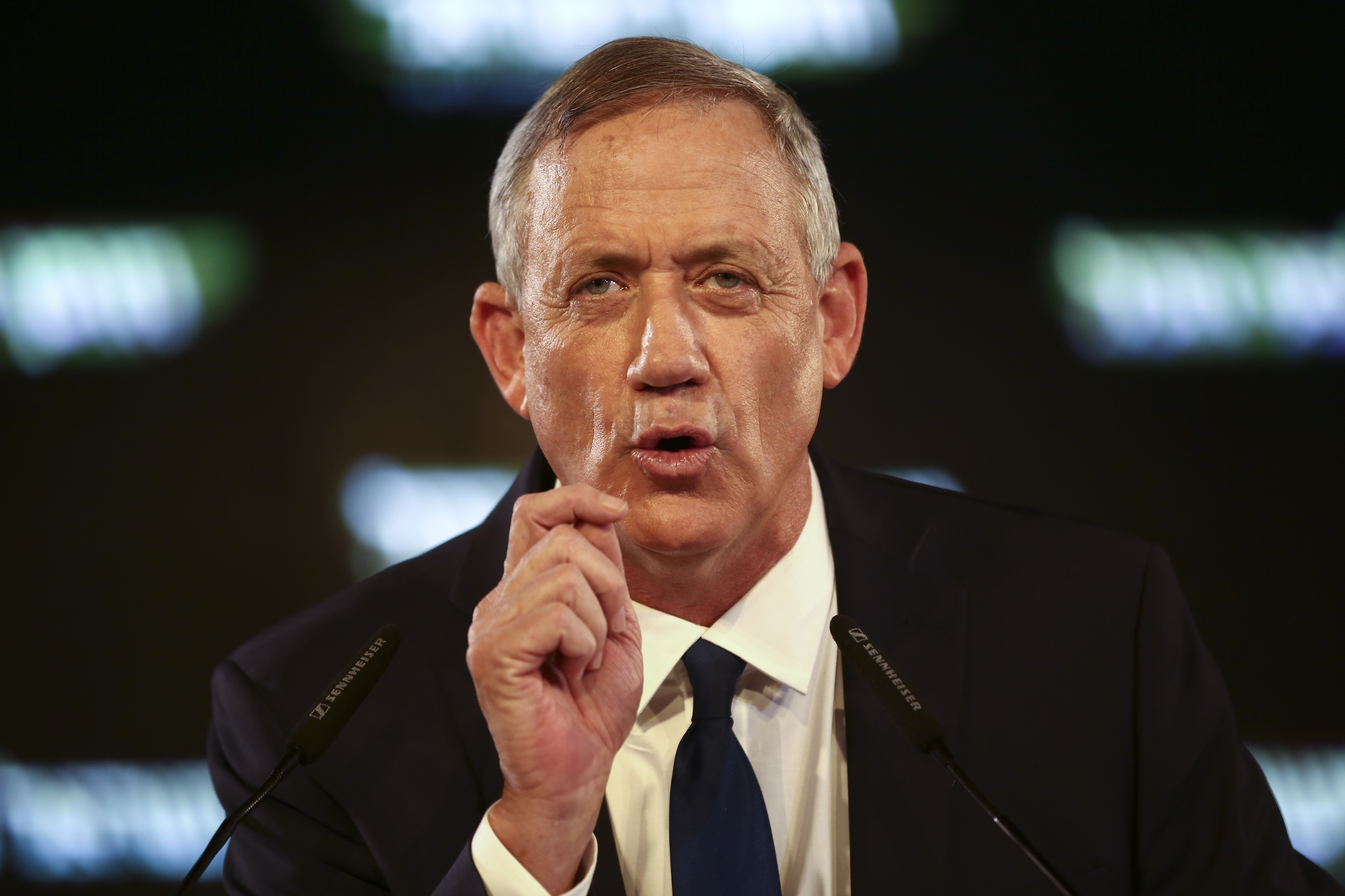FILE - Retired Israeli military chief Benny Gantz speaks at the official launch of his election campaign for the April 2019 polls, in Tel Aviv, Jan. 29, 2019.