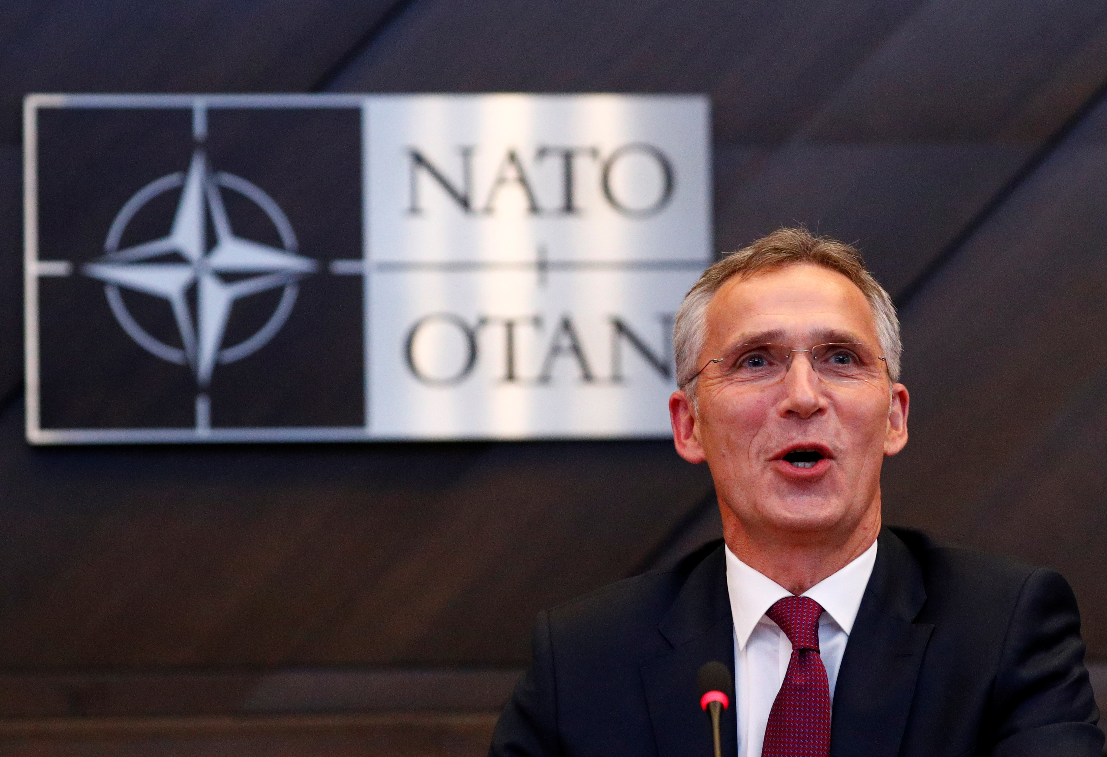 NATO Secretary General Jens Stoltenberg speaks during a NATO defense ministers meeting at the Alliance headquarters in Brussels, Belgium, Oct. 3, 2018.