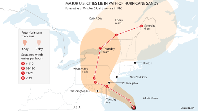 Hurricane Sandy graphic map