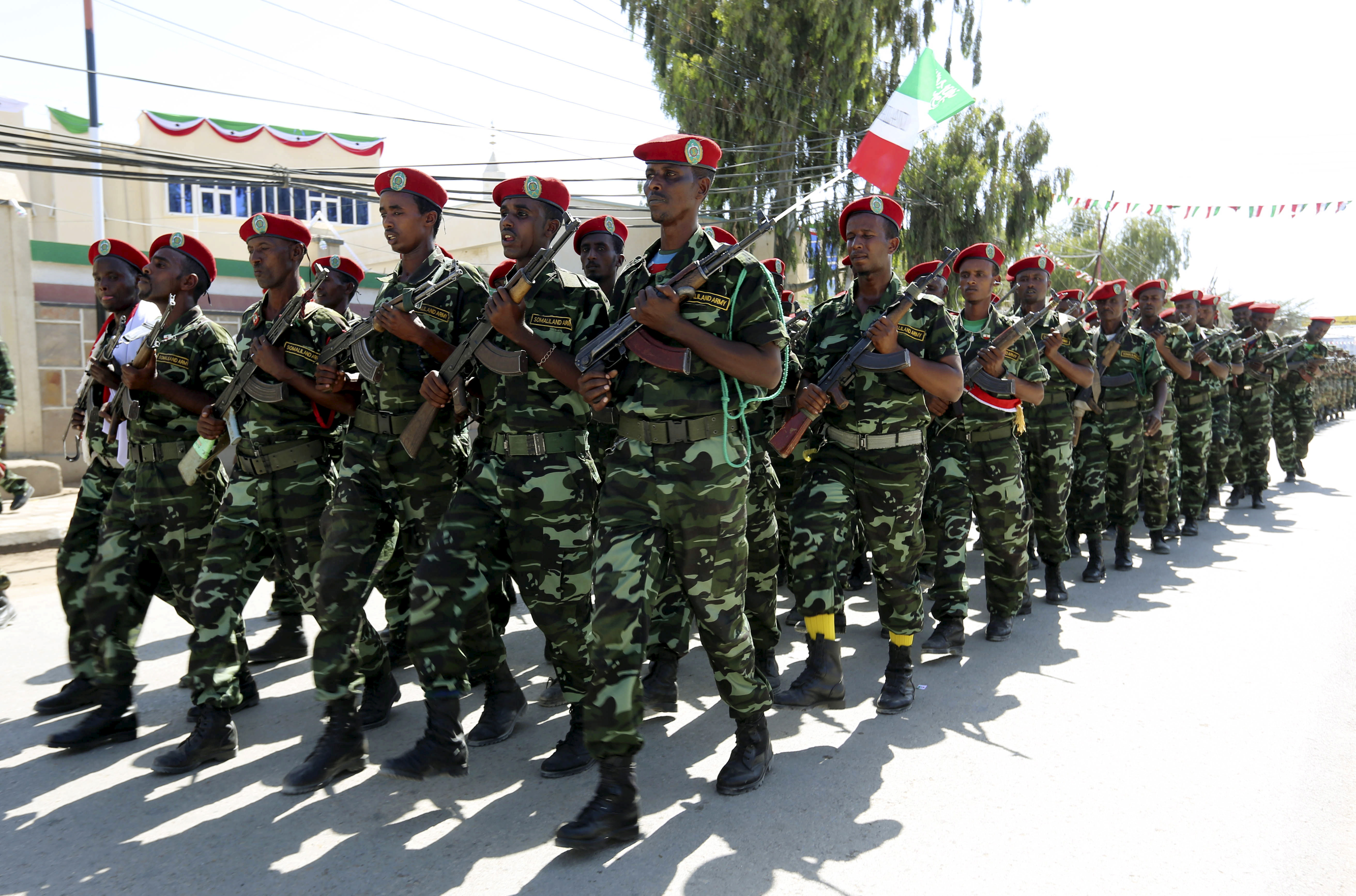 Soldiers participate in a military parade to mark the 24th self-declared independence day for the breakaway Somaliland nation in the capital Hargeysa, May 18, 2015.