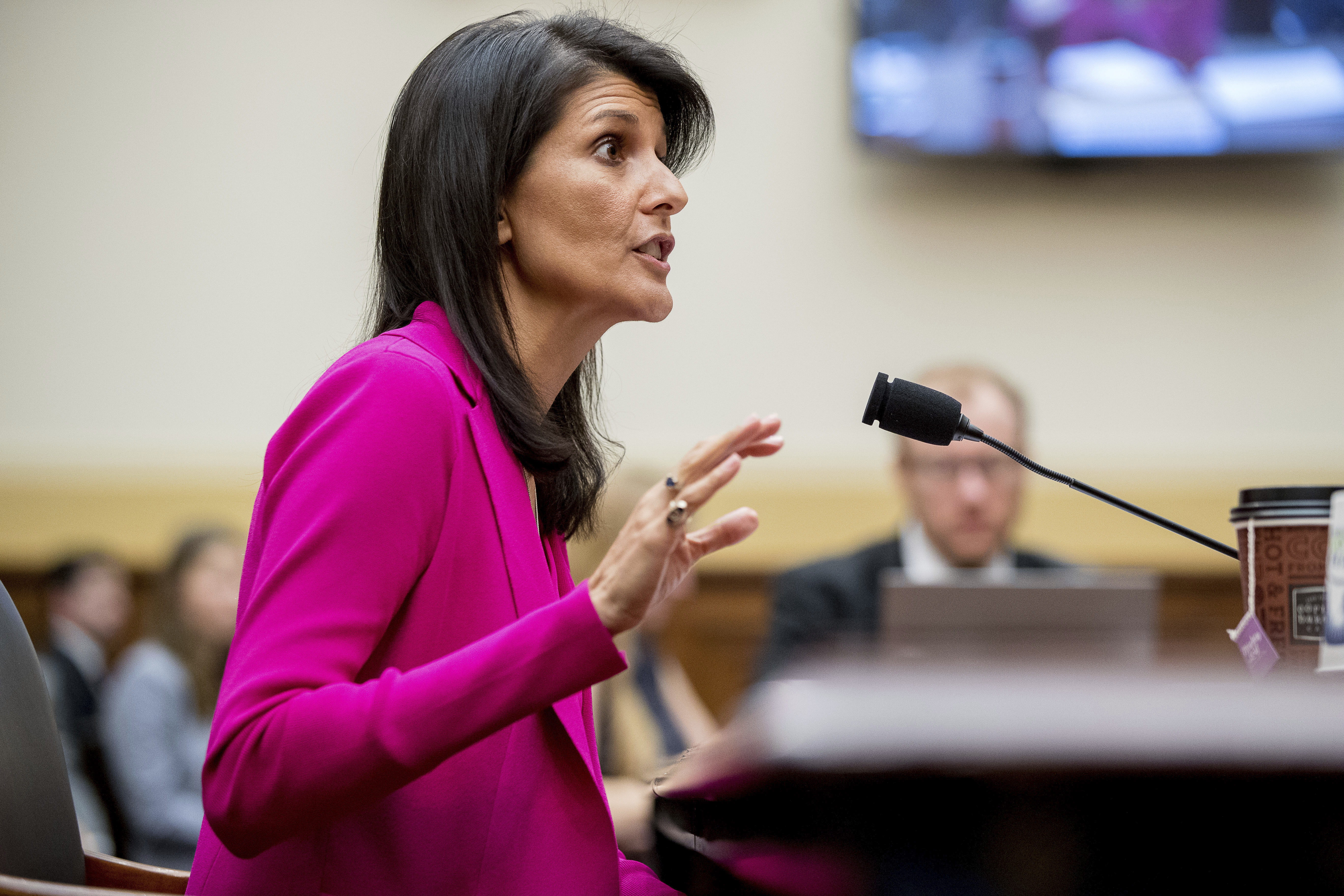"""U.S. Ambassador to the UN Nikki Haley testifies on Capitol Hill in Washington, June 28, 2017, before the House Foreign Affairs Committee hearing: """"Advancing U.S. Interests at the United Nations."""""""