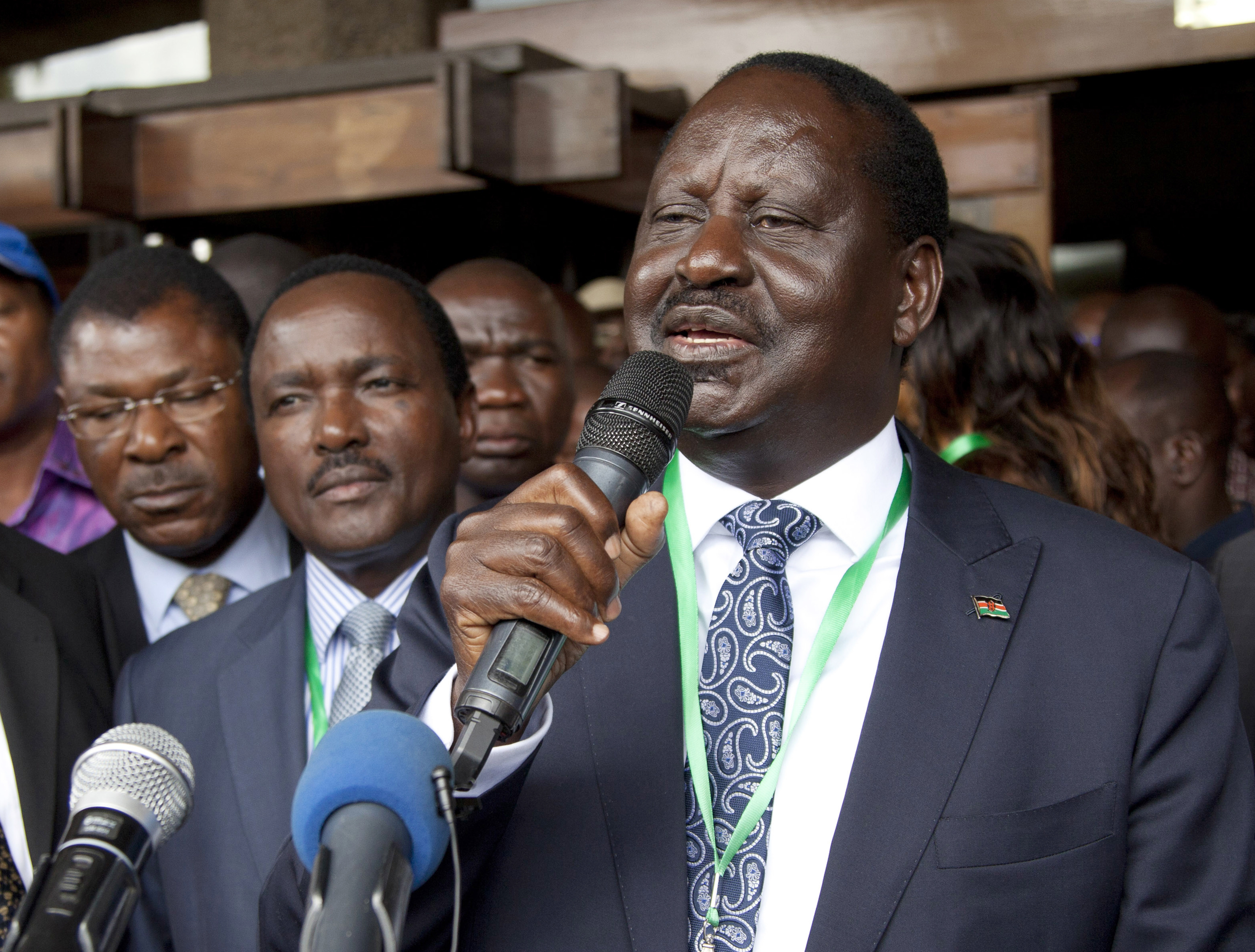 FILE - In this photo dated May 28, 2017, National Super Alliance Presidential candidate Raila Odinga, addresses supporters after he presented his presidential papers in Nairobi, Kenya.