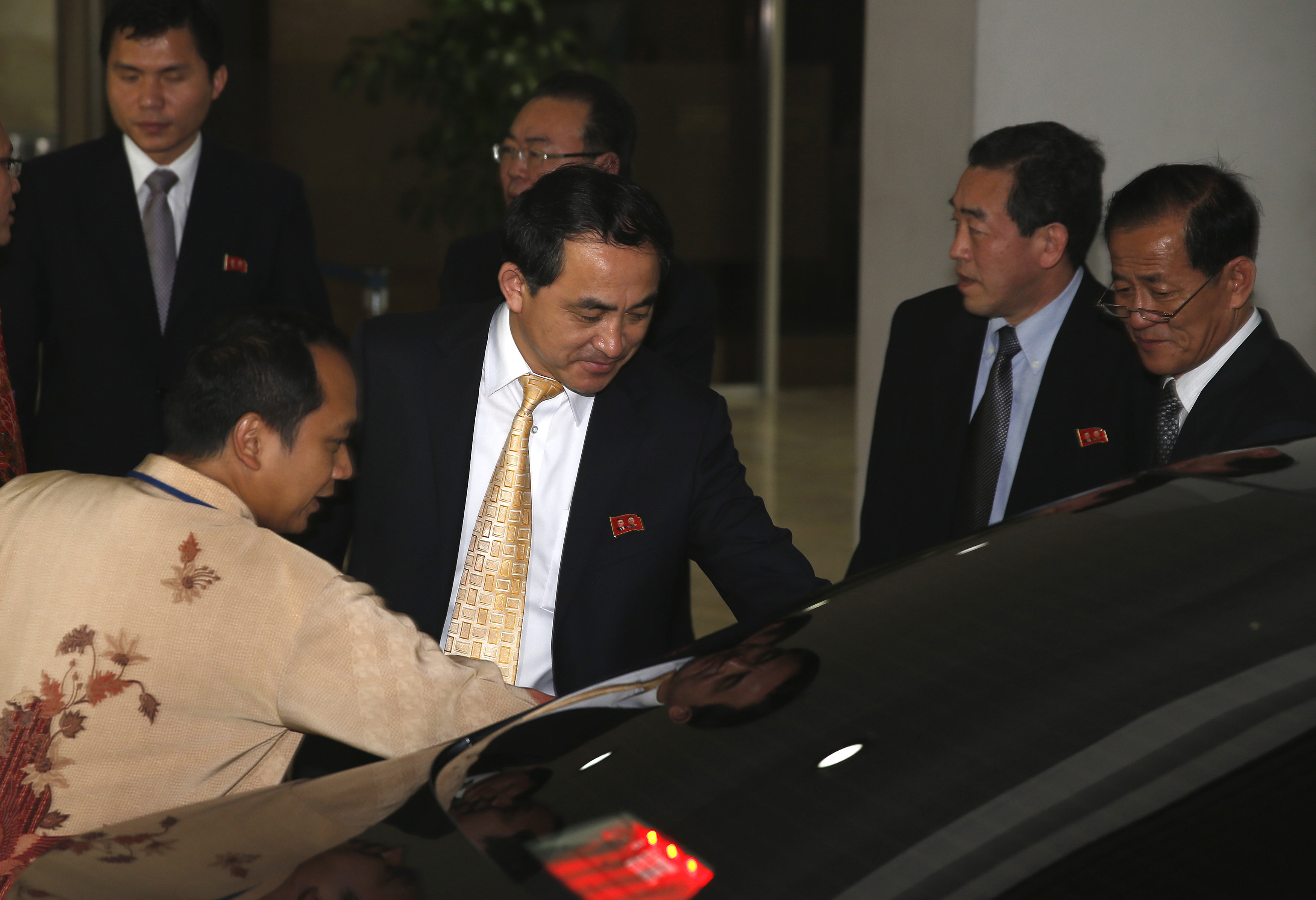 North Korea's Deputy Foreign Minister Ri Kil Song leaves after a meeting with Indonesian officials at the Foreign Ministry in Jakarta, February 13, 2015.